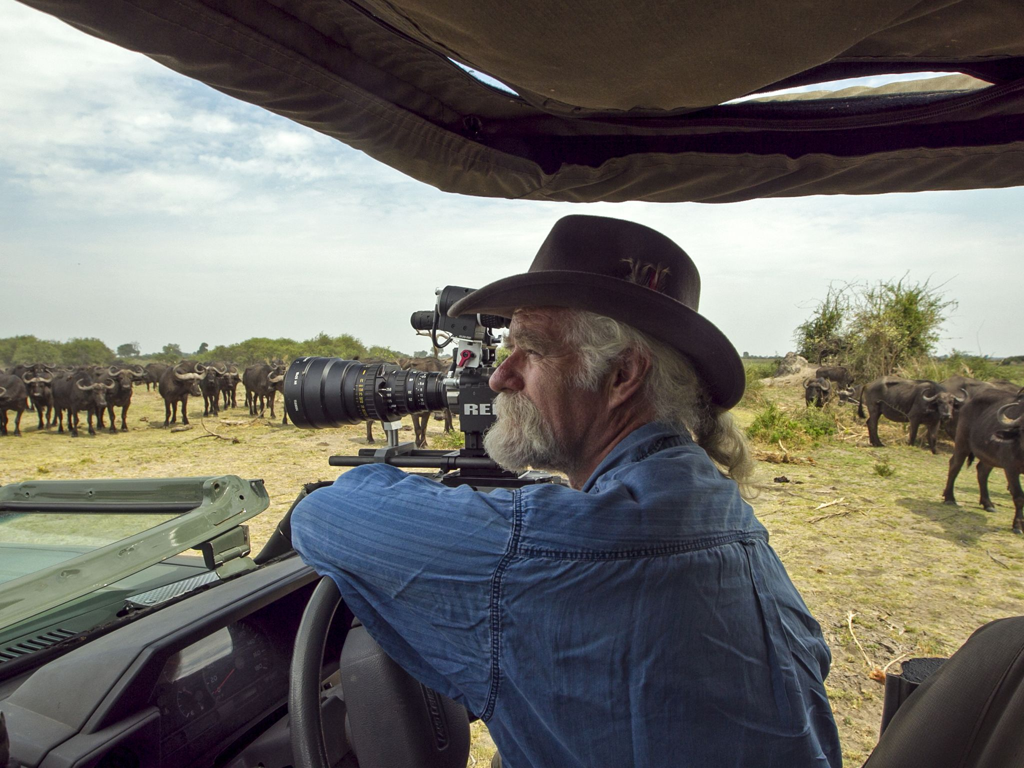 Dereck Joubert filming a herd of Buffalo. This image is from Okavango River of Dreams. [Photo of the day - April 2020]