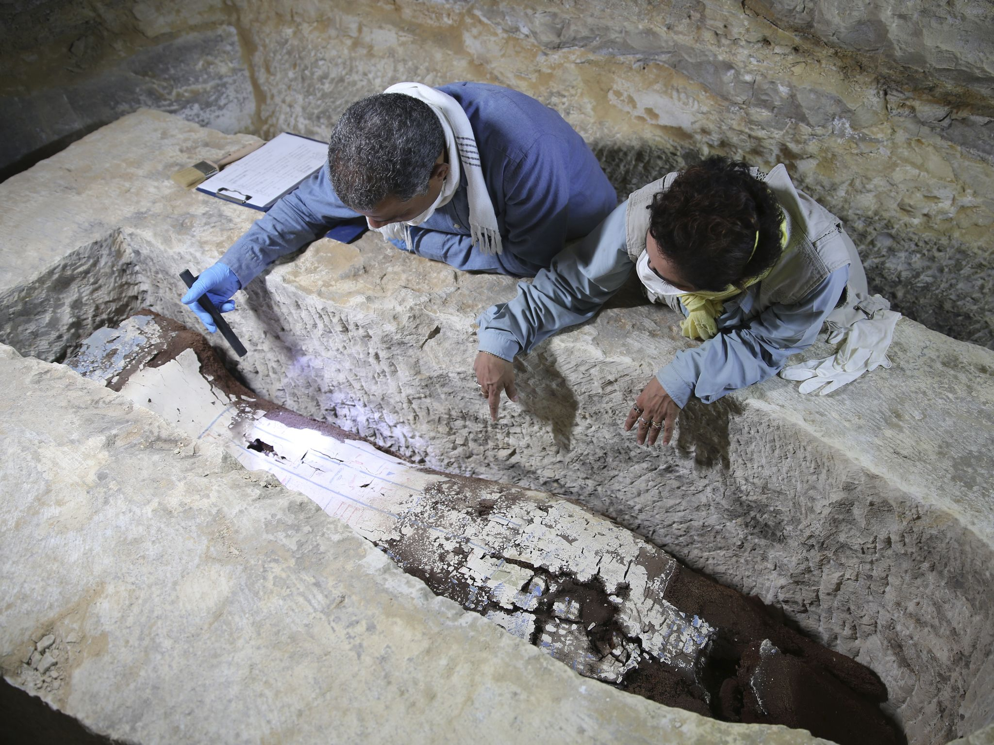 Dr. Ramadan Hussein and Dr. Matthias Lang survey the newly discovered hidden burial chamber at... [Photo of the day - June 2020]