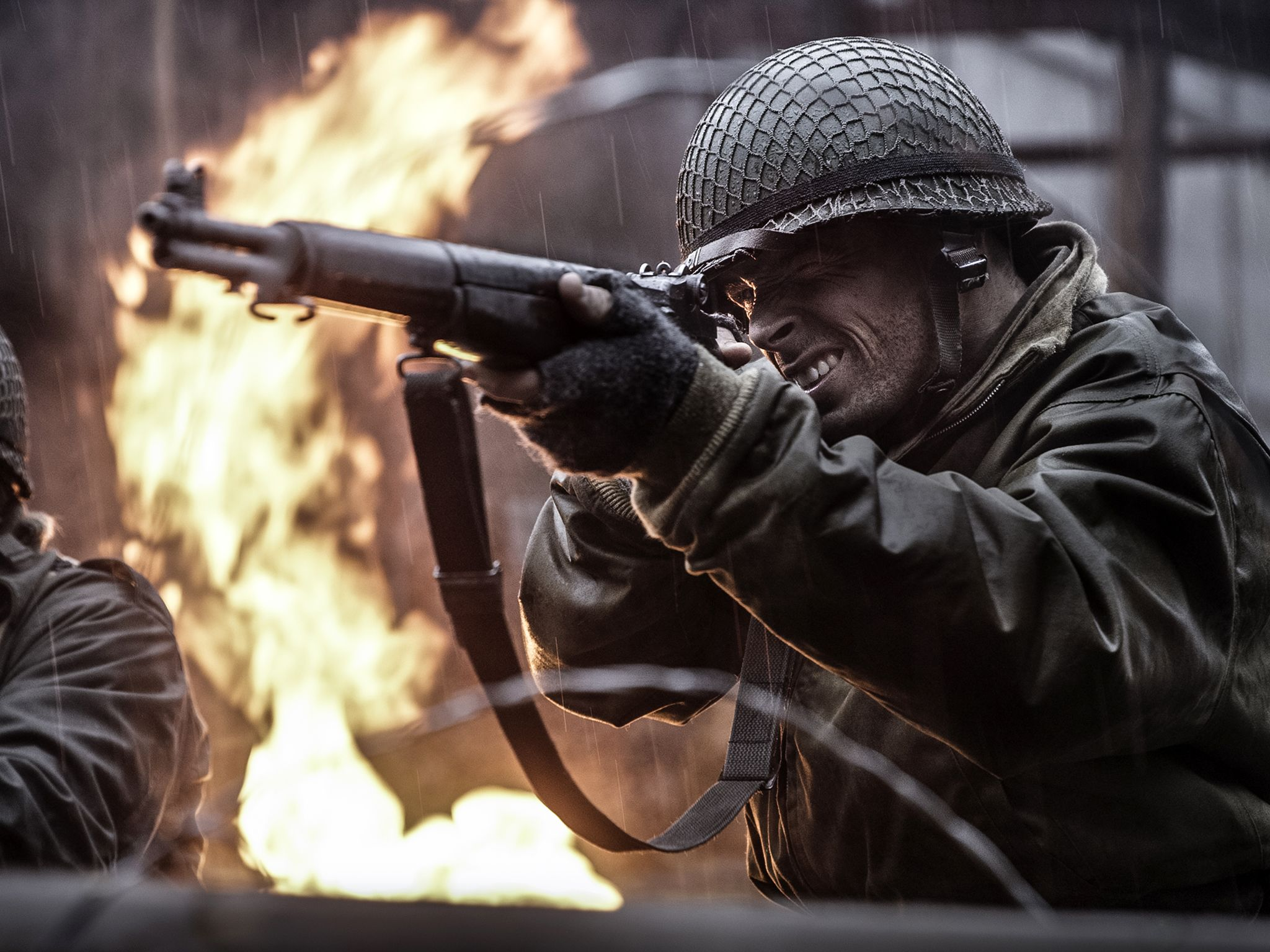 Dramatic recreation of Sgt. Stanley Showman and B Company as they open fire on attacking German... [Photo of the day - June 2020]
