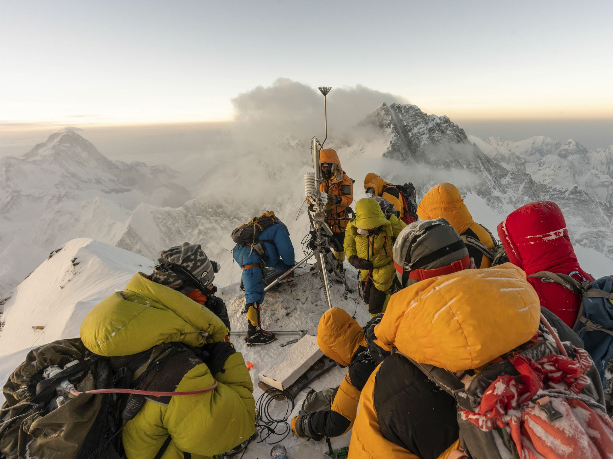 Climate scientists Baker Perry, Tom Matthews, and a team of Sherpa guides build the highest... [Photo of the day - July 2020]