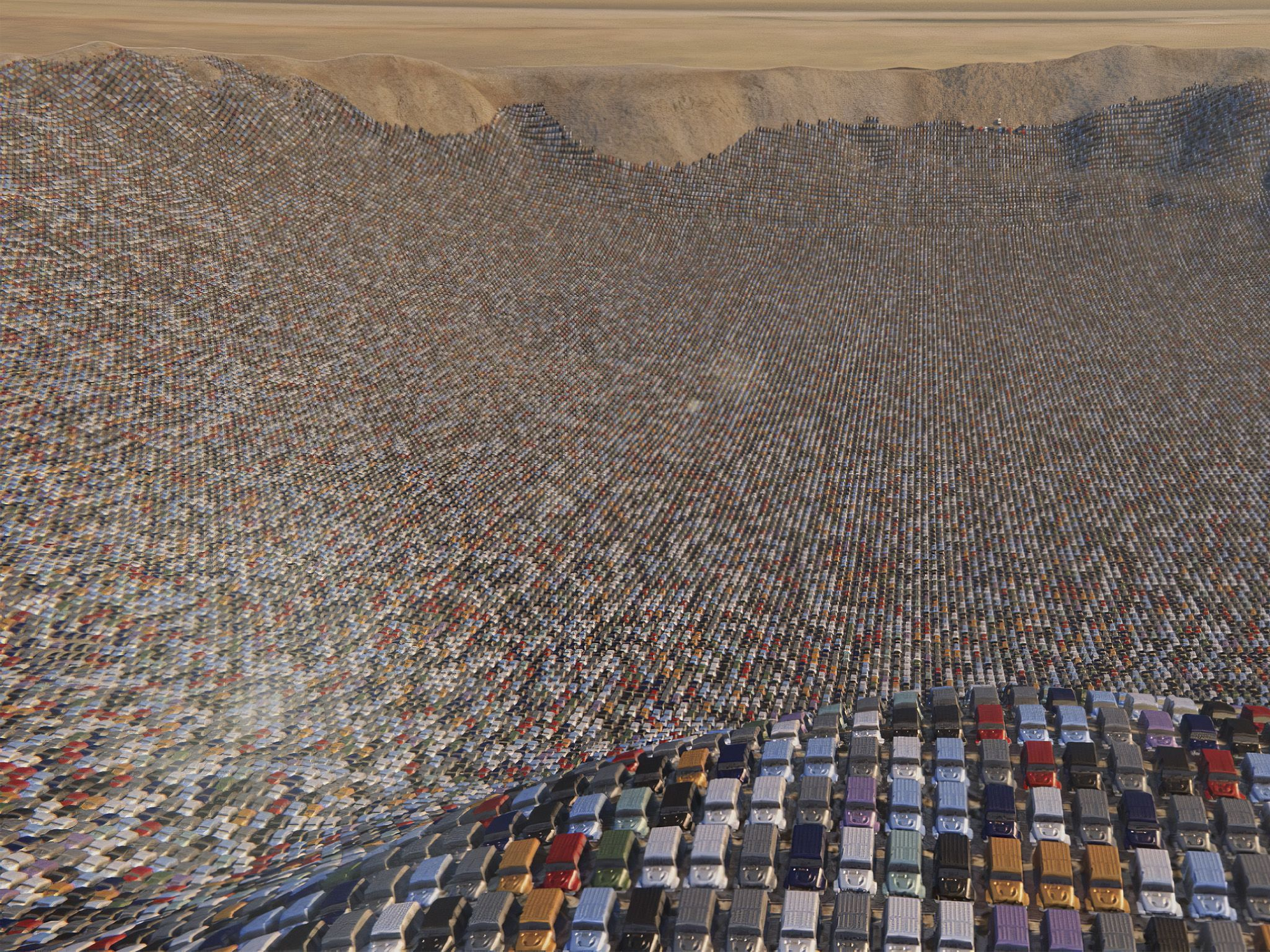 CGI of hundreds of SUVs filling a crater. This image is from Made In A Day. [Photo of the day - August 2020]