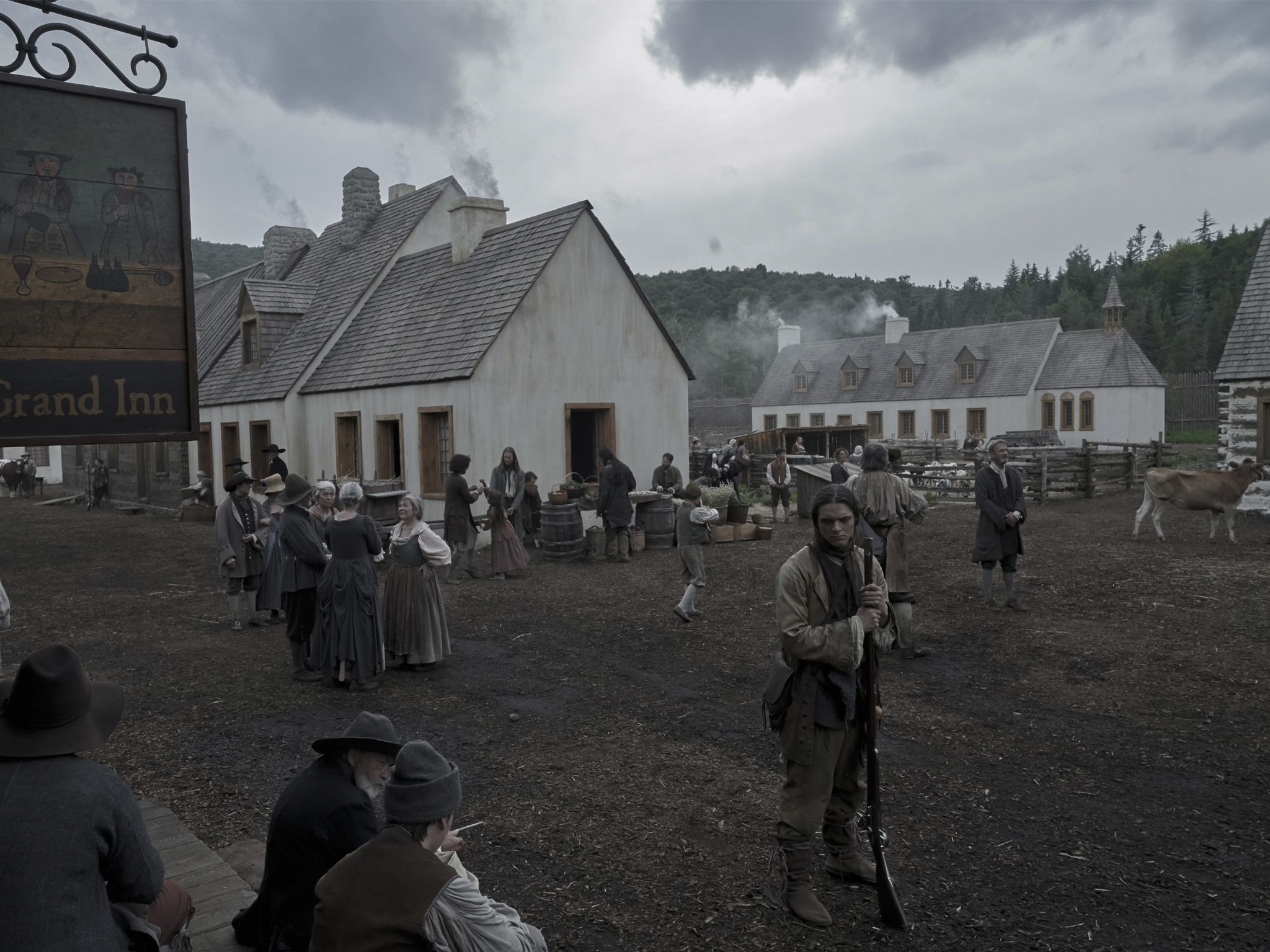 The town of Wobik outside of Le Grand Inn. This image is from Barkskins. [Photo of the day - August 2020]
