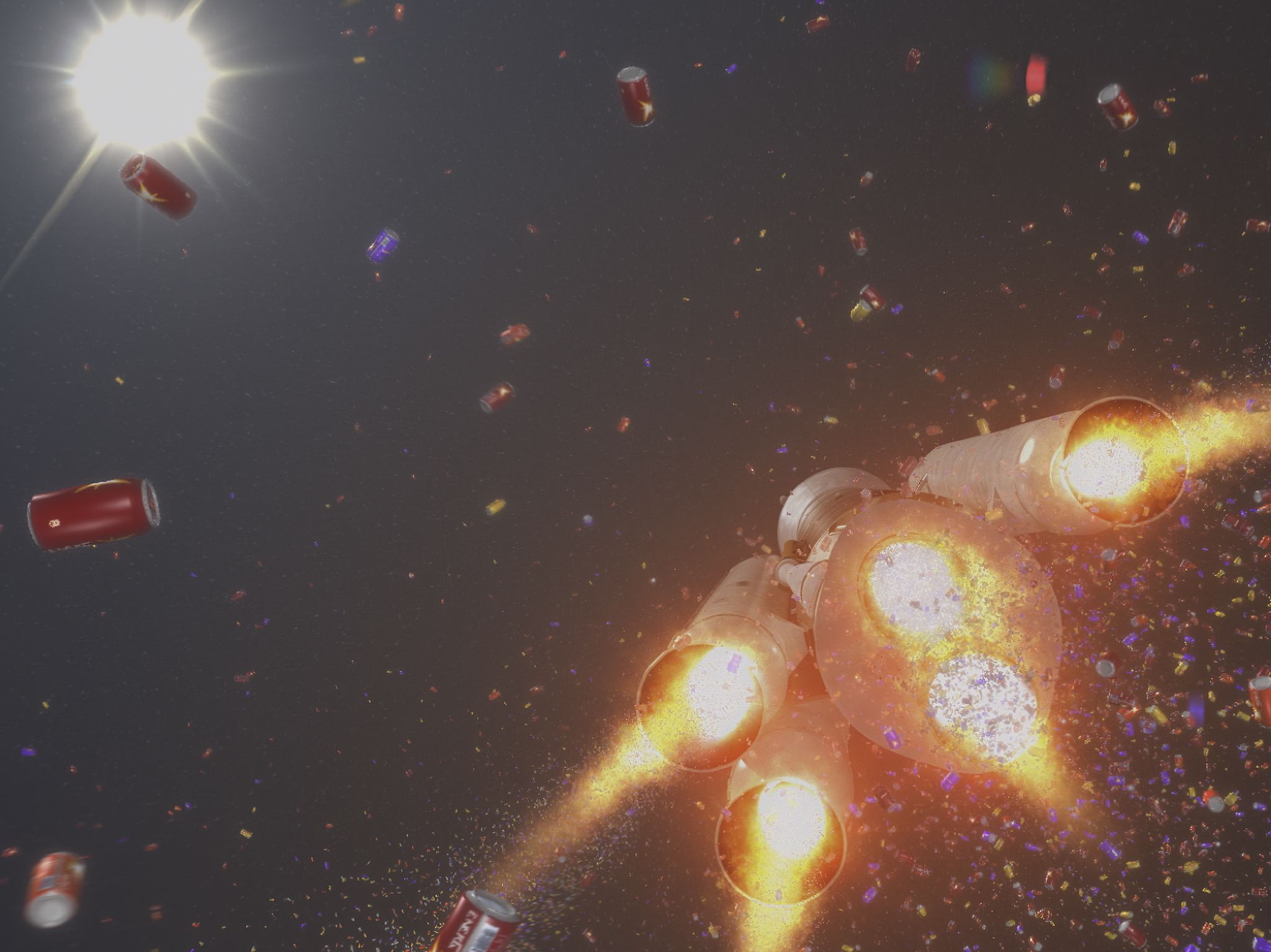 CGI of below shot of rocket flying with fizzy drink cans surrounding. This image is from Made In... [Photo of the day - August 2020]