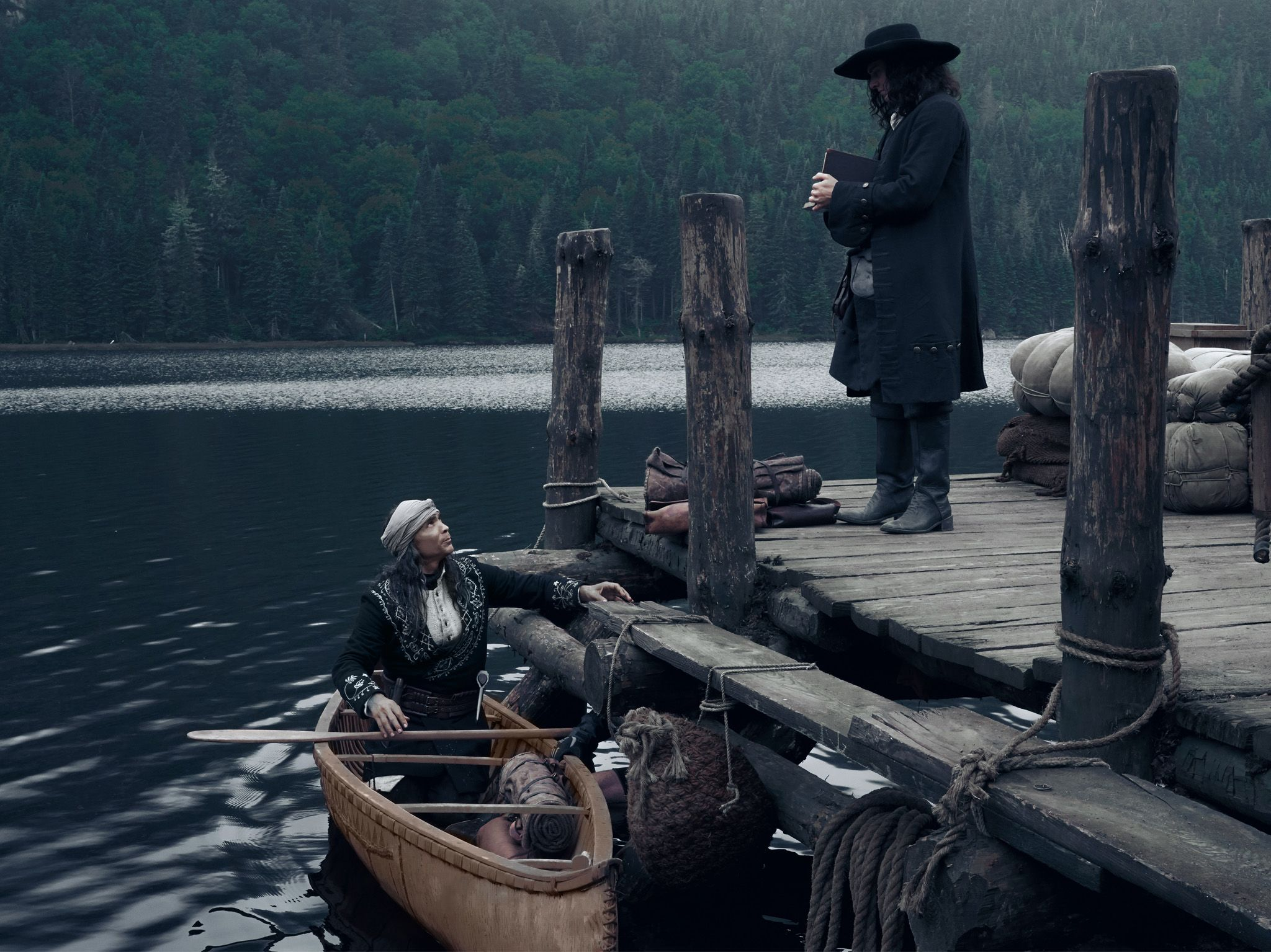 Yvon (Zahn McClarnon) and Hamish Goames (Aneurin Barnard) arrive at the docks in New France.... [Photo of the day - August 2020]