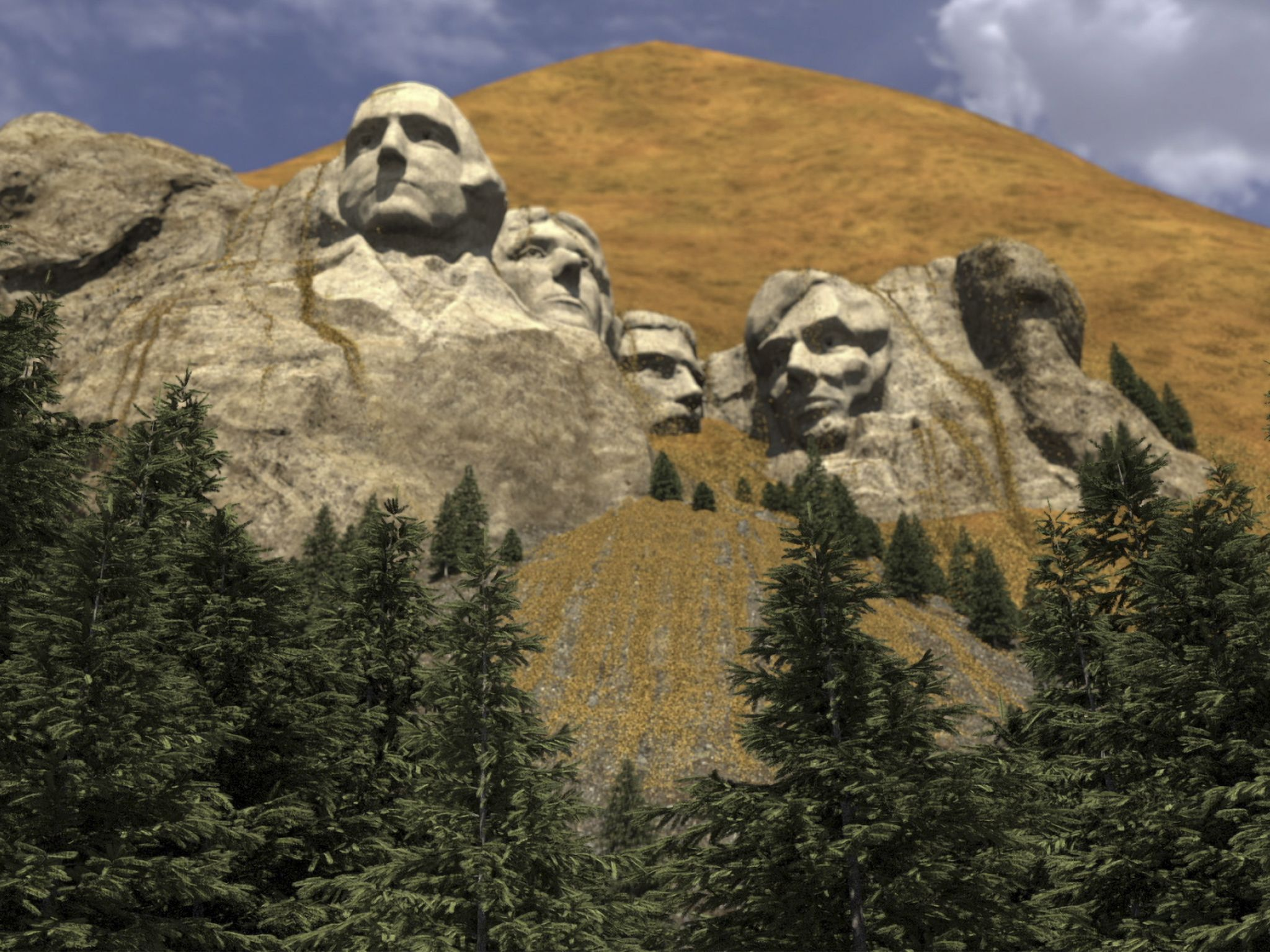 CGI of Mount Rushmore covered in grain. This image is from Made In A Day: Tractors. [Photo of the day - August 2020]