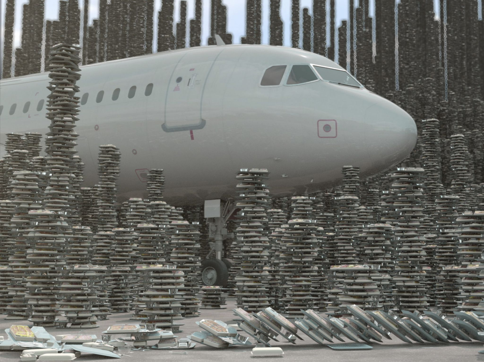 CGI of front of plane on runway with stacks of airplane meals surrounding it. This image is from... [Photo of the day - August 2020]