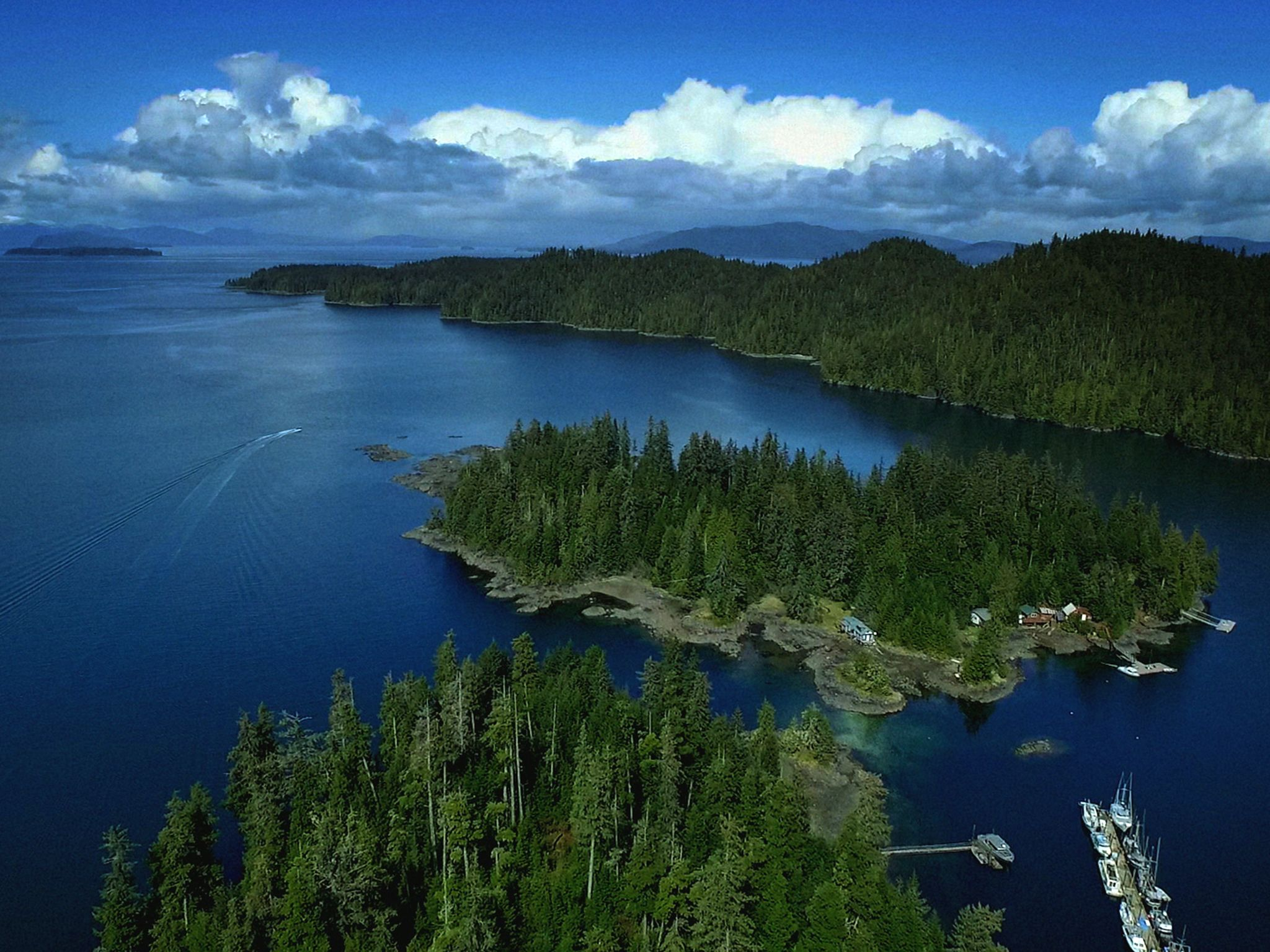 An aerial view of Port Protection. This image is from Lawless Island Alaska. [Photo of the day - September 2020]