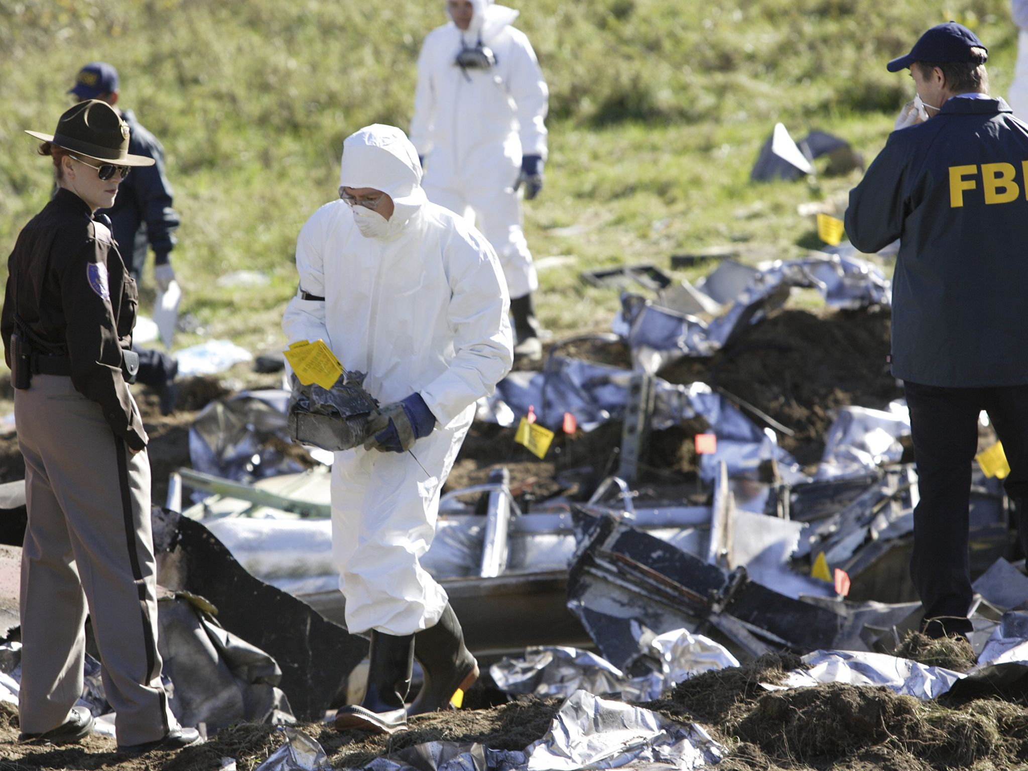 The NTSB recover evidence. This image is from Air Crash Investigation. [Photo of the day - September 2020]