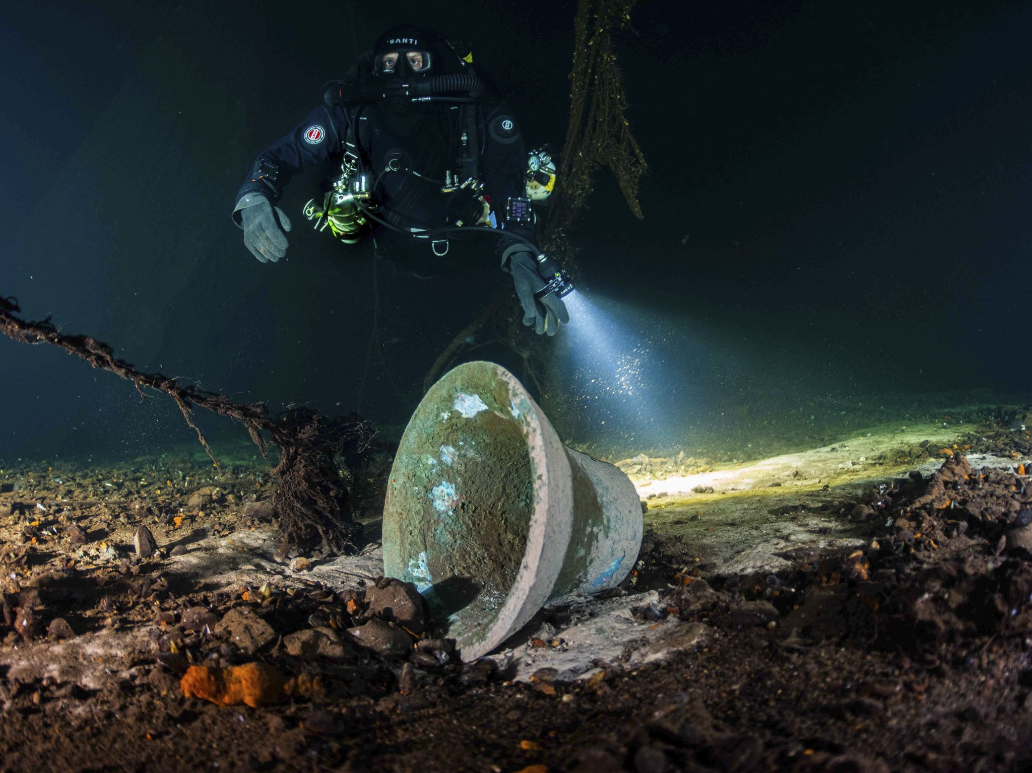 A diver inspects the bell of the Steuben, found after over 70 years by Tomasz Stachura in the... [Photo of the day - October 2020]