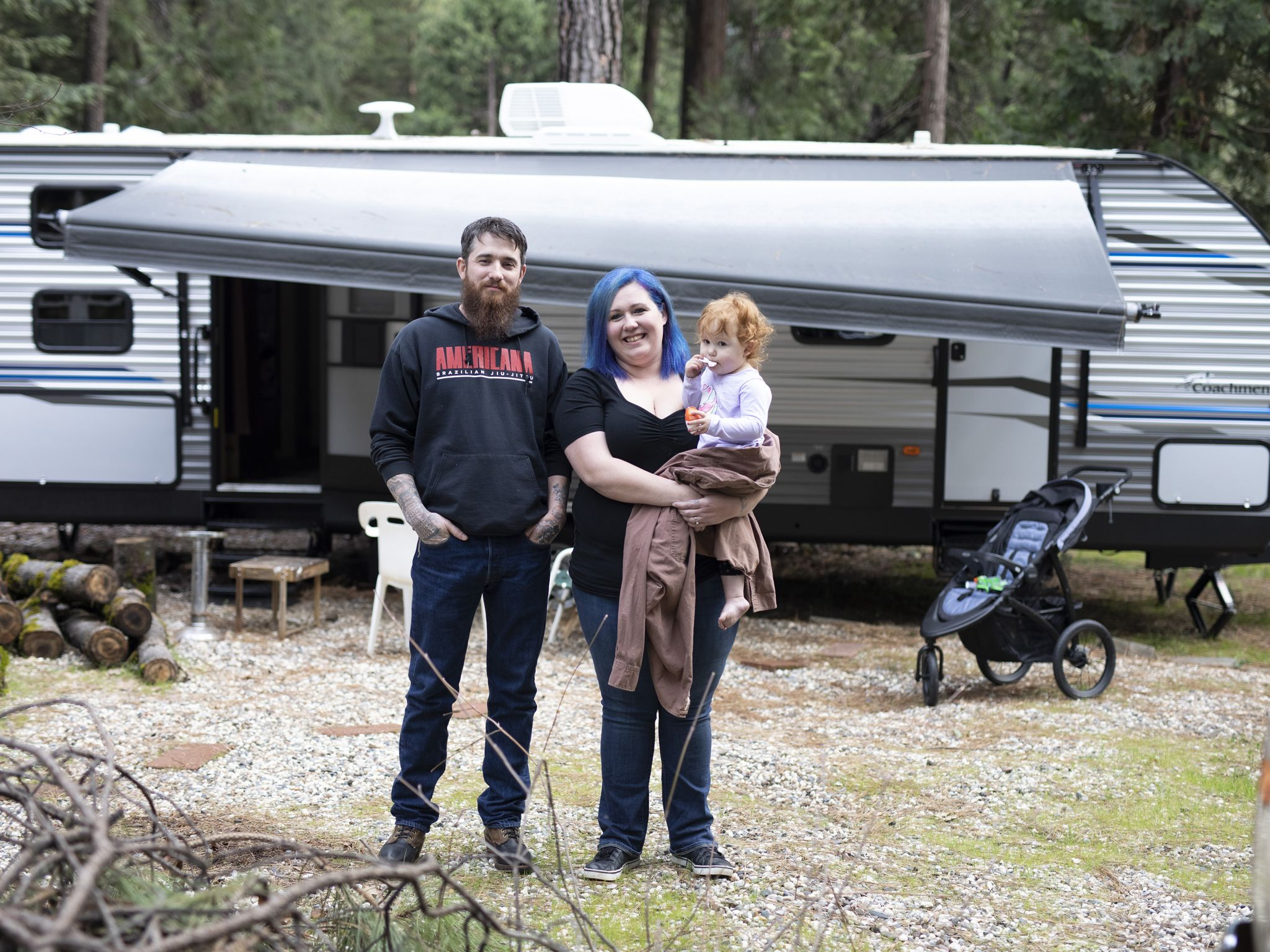 The Cox Family in front of their trailer. This image is from Rebuilding Paradaise. [Photo of the day - November 2020]