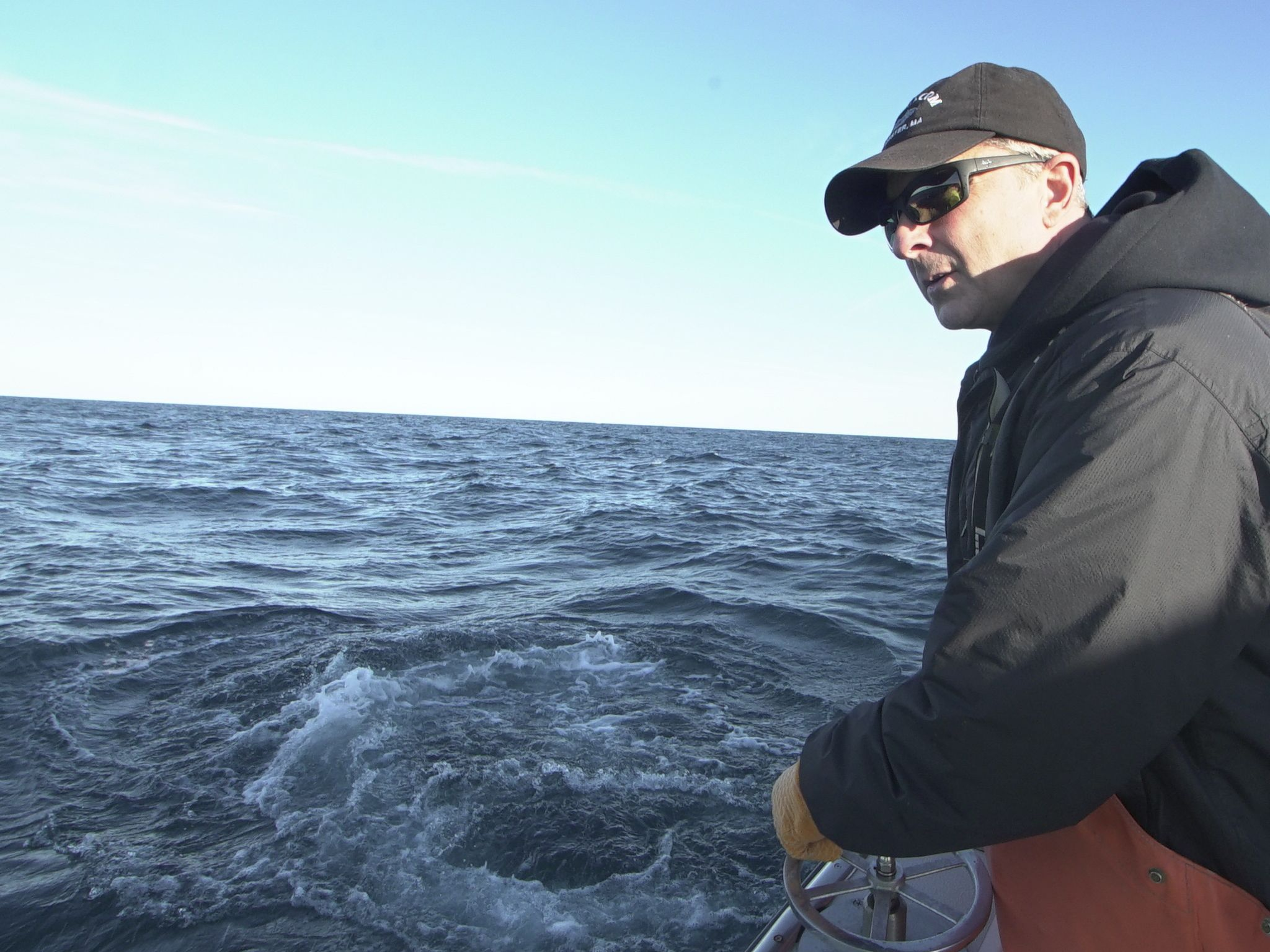 Captain Dave Carraro on the rear steering wheel. This image is from Wicked Tuna: Outer Banks. [Photo of the day - November 2020]