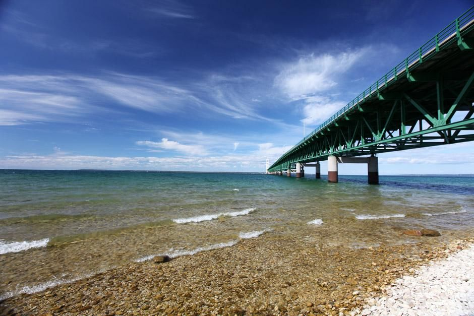 Mackinac City, Straits of Mackinac, Michigan, USA: Looking north from the shoreline down the... [Photo of the day - May 2012]