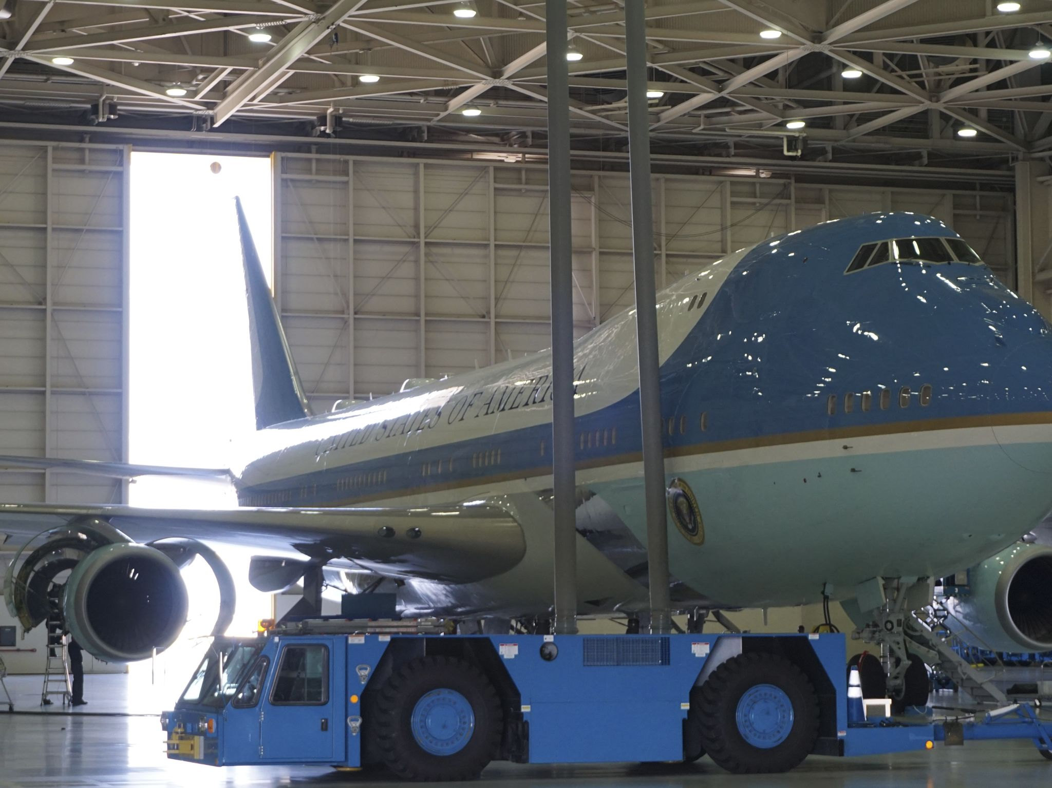 Air Force One in hangar 19. This image is from New Air Force one, The Flying Fortress. [Photo of the day - February 2020]