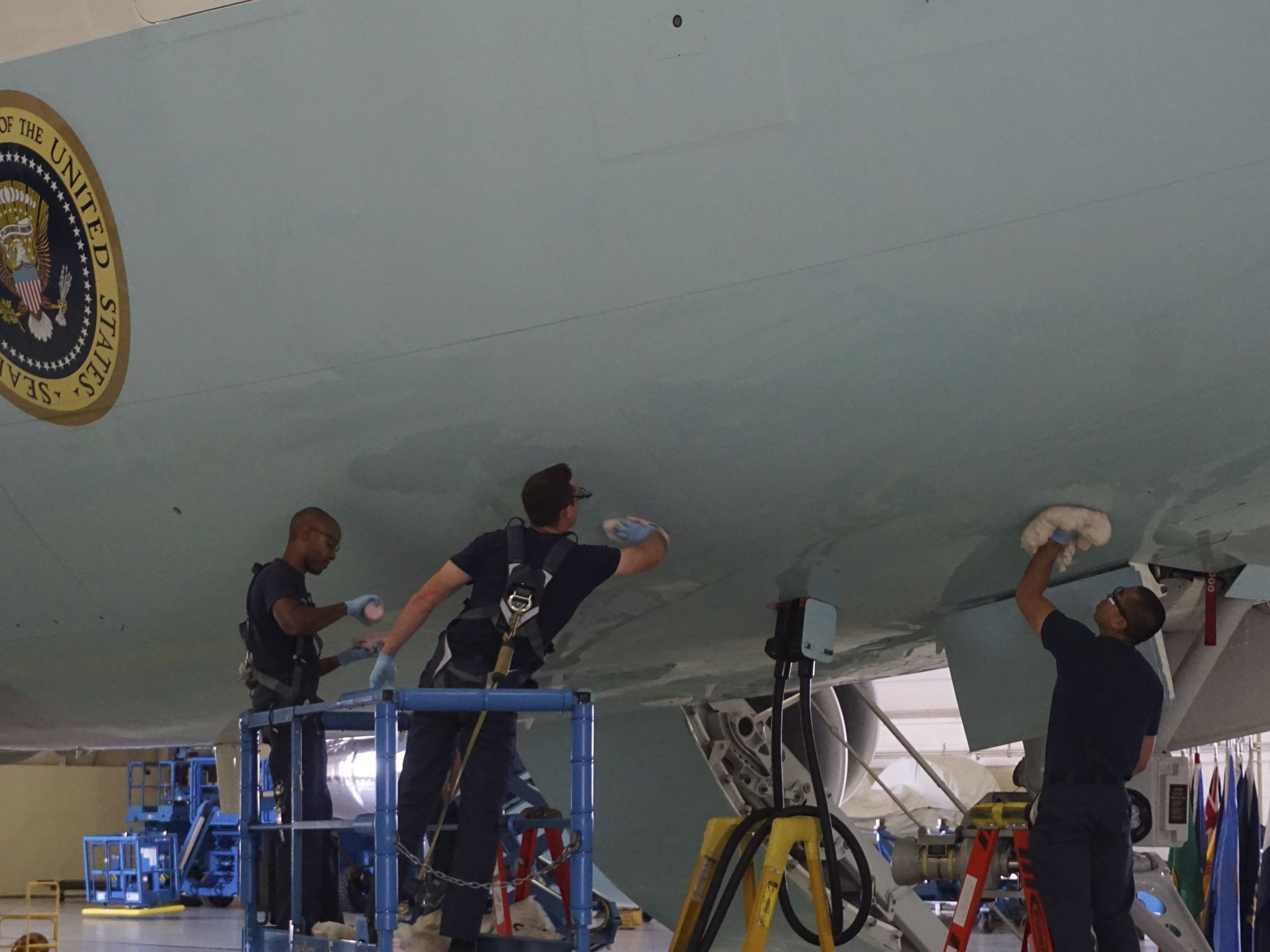 The outside of Air Force One is cleaned while at Joint Base Andrews. This image is from New Air... [Photo of the day - February 2021]