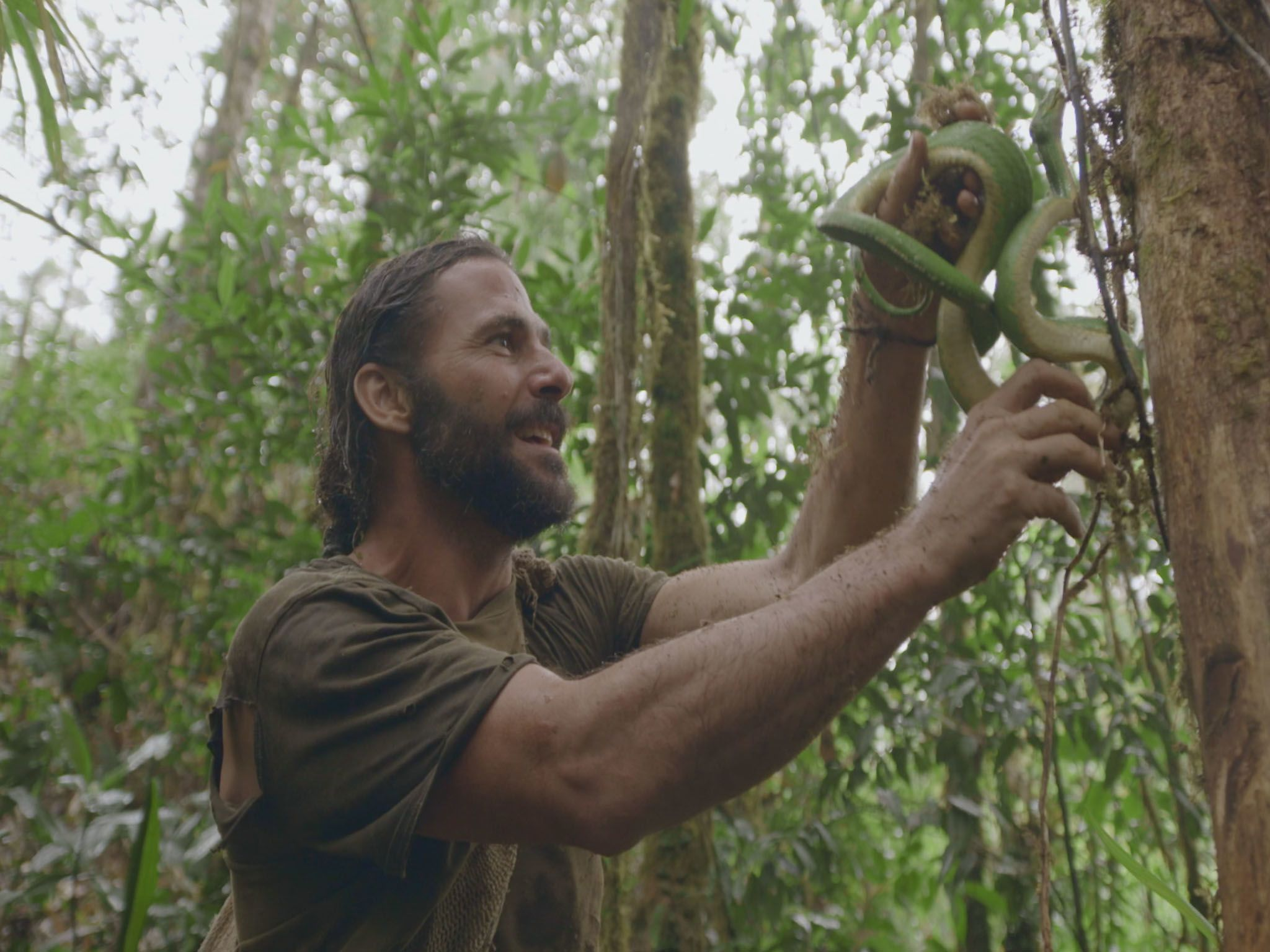 Hazen holding a green tree python in the jungle. This image is from Primal Survivor. [Photo of the day - April 2021]