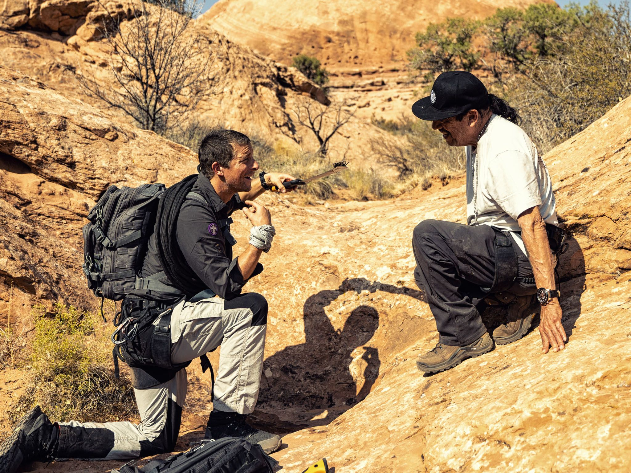Bear Grylls shows Danny Trejo how to extract water. This image is from Running wild with Bear... [Photo of the day - April 2021]