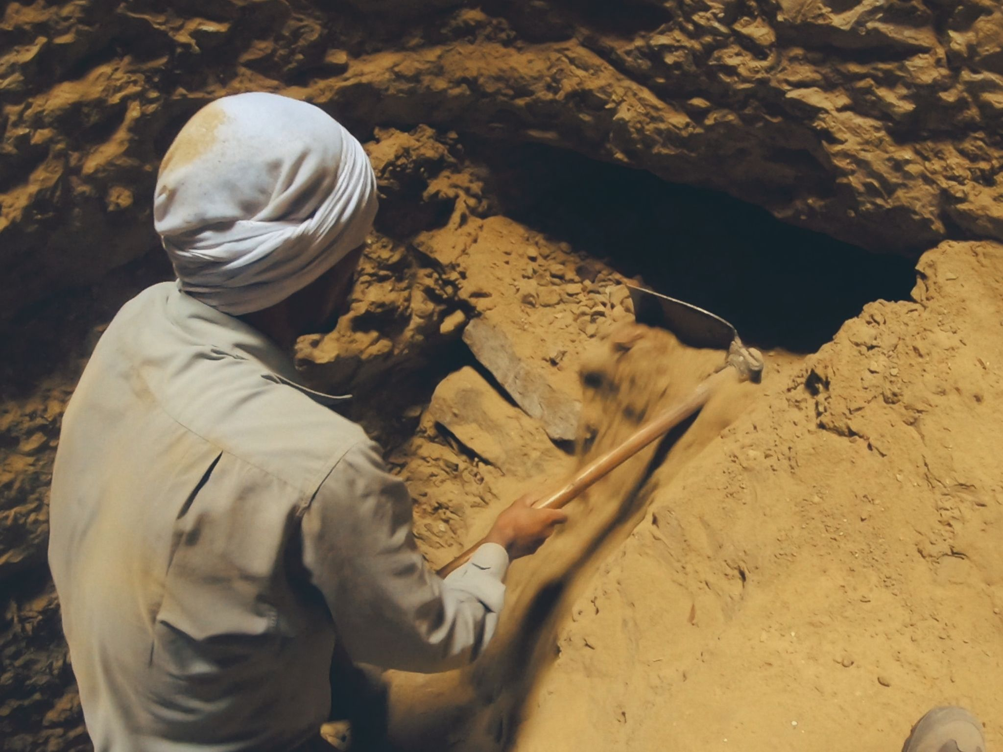 Saqqara, Egypt - Workers in Saqqara unearth a tomb entrance.  This is from Lost Treasures Egypt. [Photo of the day - August 2021]