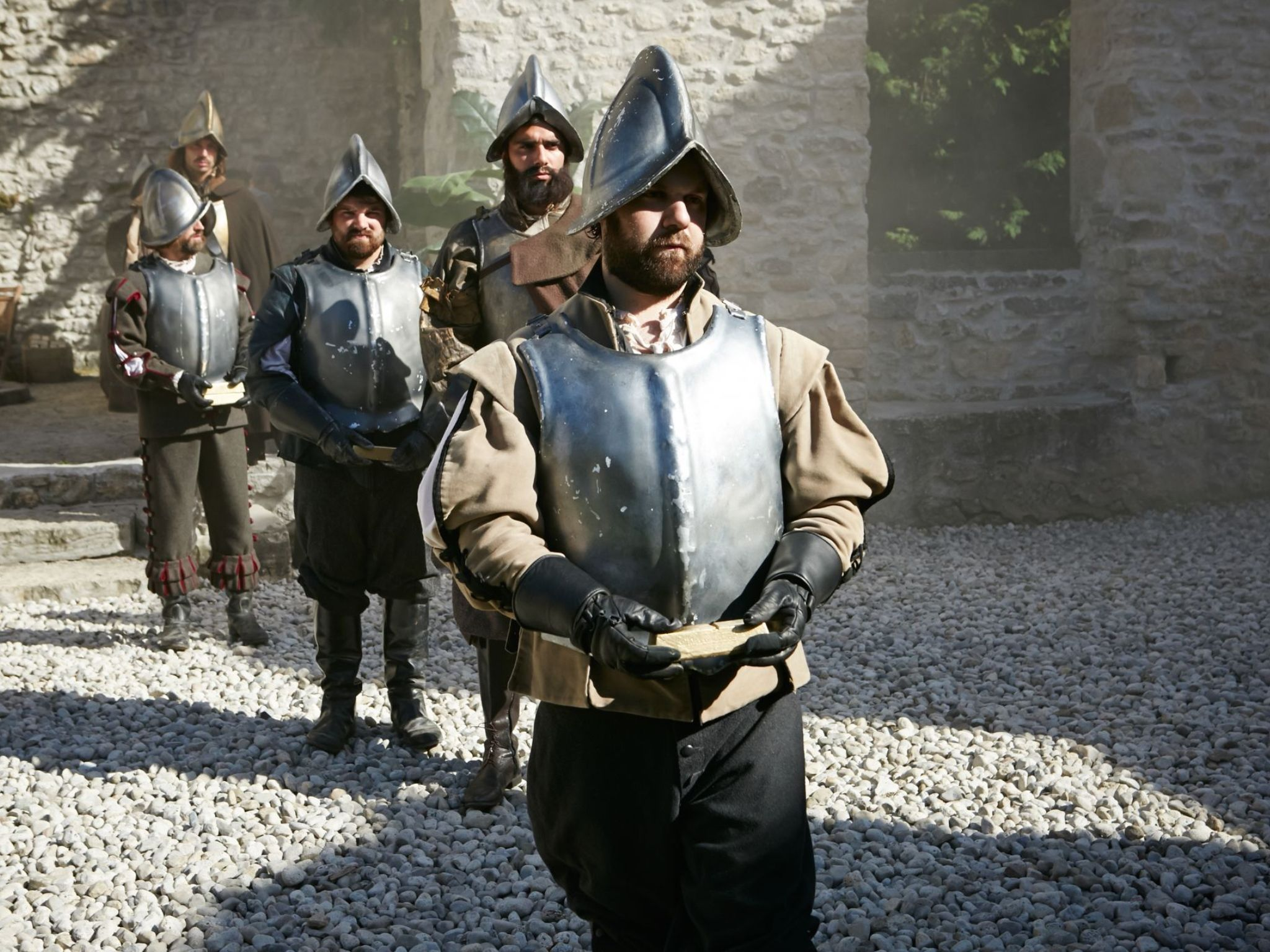 REENACTMENT- A Spanish solider walks with the gold bar. This is from The Quest for Gold. [Photo of the day - August 2021]