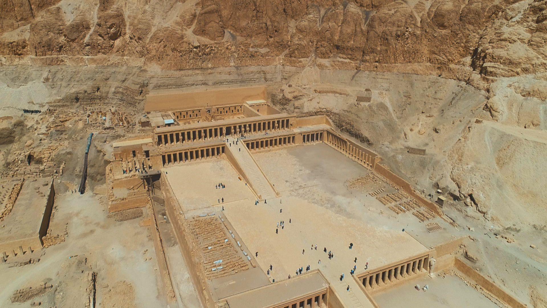 Aerial View of Hatshepsut's temple. This is from Lost Treasures of Egypt, season 3. [Photo of the day - September 2021]