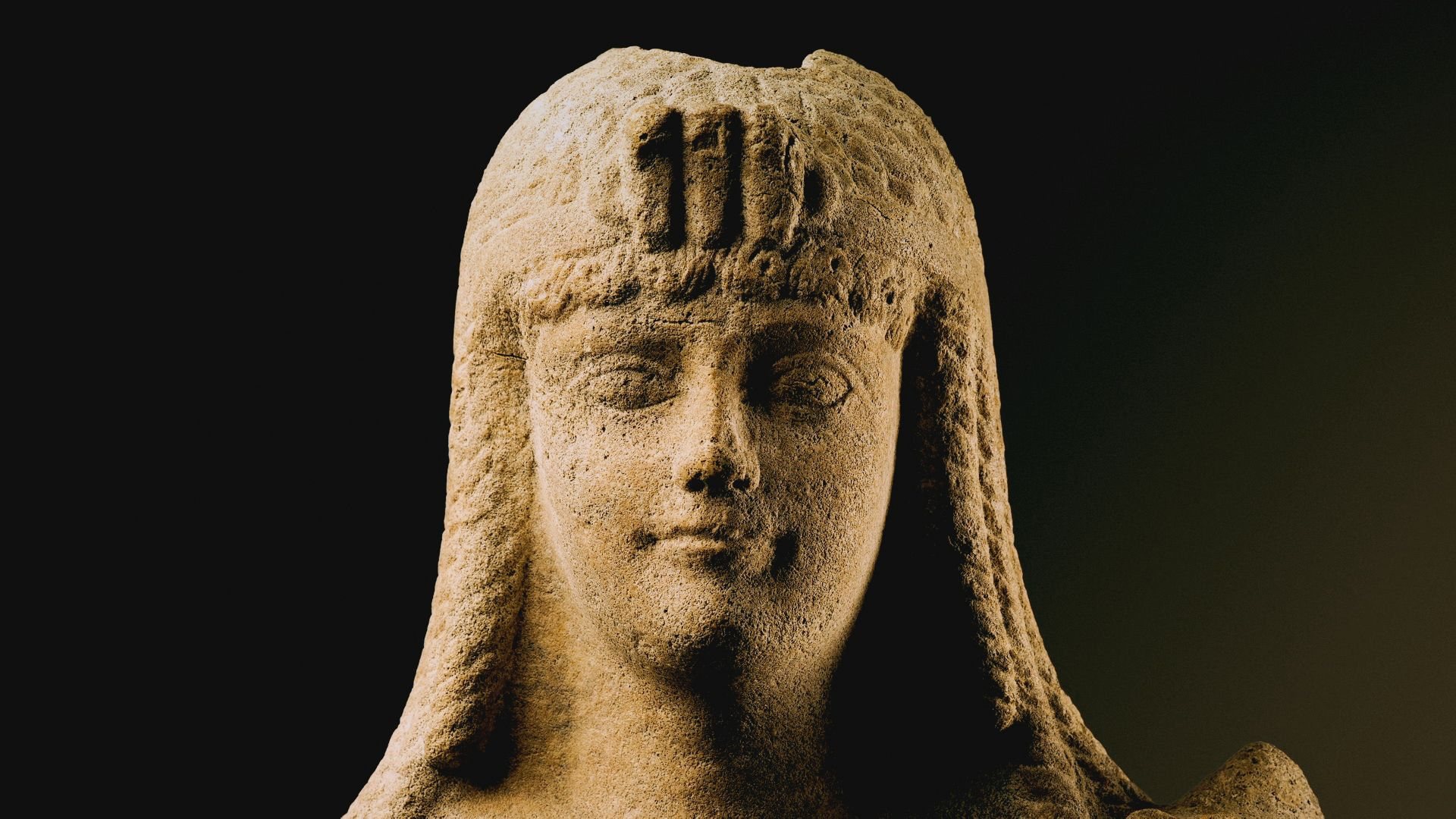 Close up of statue of Cleopatra. This is from Lost Treasures of Egypt, season 3. [Photo of the day - September 2021]