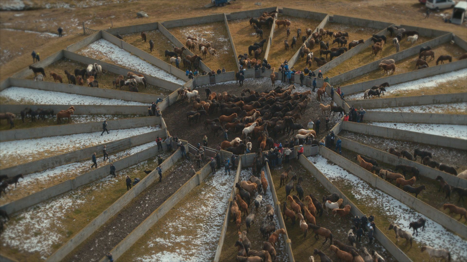 Horses in the corral. This is from Europe from above, season 4. [Photo of the day - September 2021]