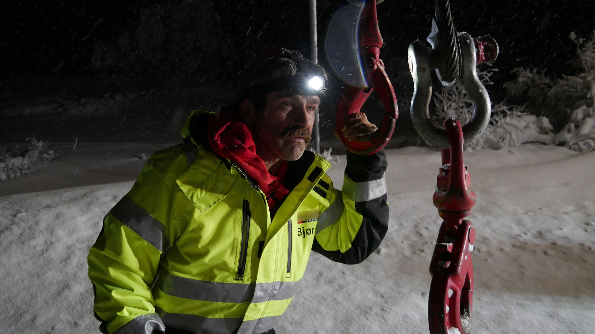Ice Road rescuer in the night. This is from Ice Road Rescue [Photo of the day - October 2021]