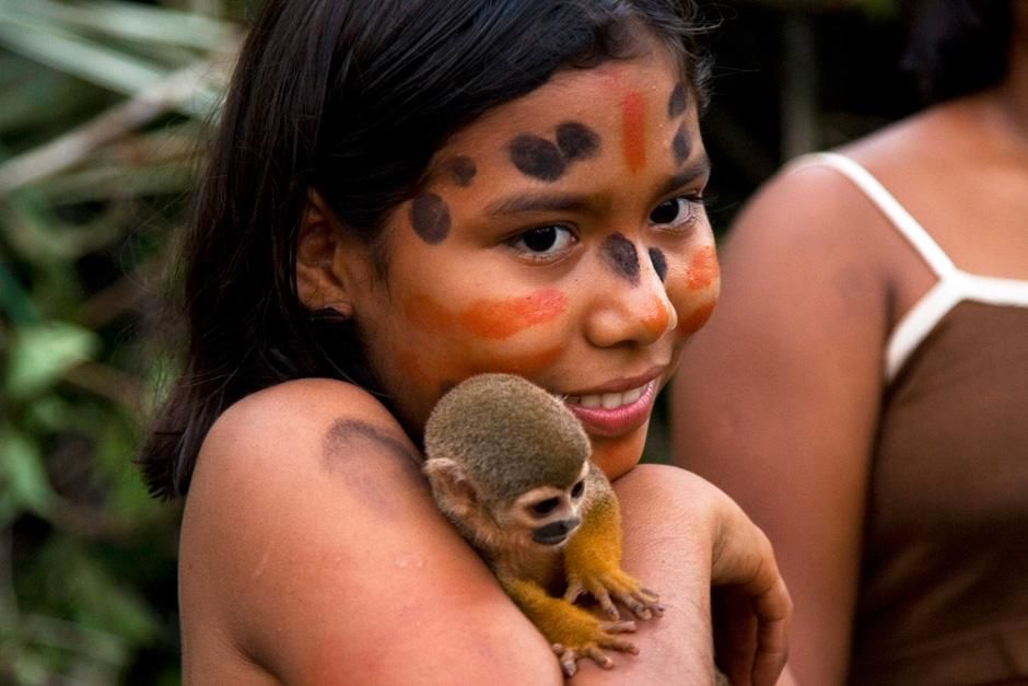 BRAZIL: Native Amazonian girl with monkey. This image is from Departures. [Photo of the day - October 2012]