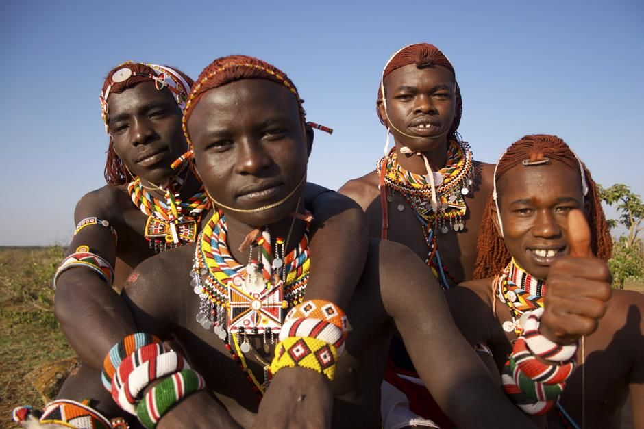 Four young Maasai warriors in Kenya. This image is from Warrior Road Trip. [Photo of the day - مارس 2013]