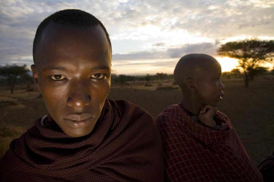 Portrait of two young Masai men at Sunset. Tanzania. [Photo of the day - November 2011]