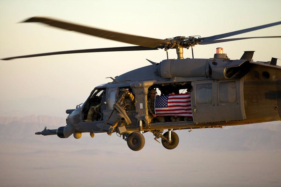 Kandahar, Afghanistan: PJs fly with an American flag to honor the rescue team that lost their... [Photo of the day - June 2013]
