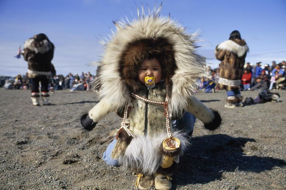 Inuit infant in traditional parka, North Slope. [Photo of the day - December 2011]
