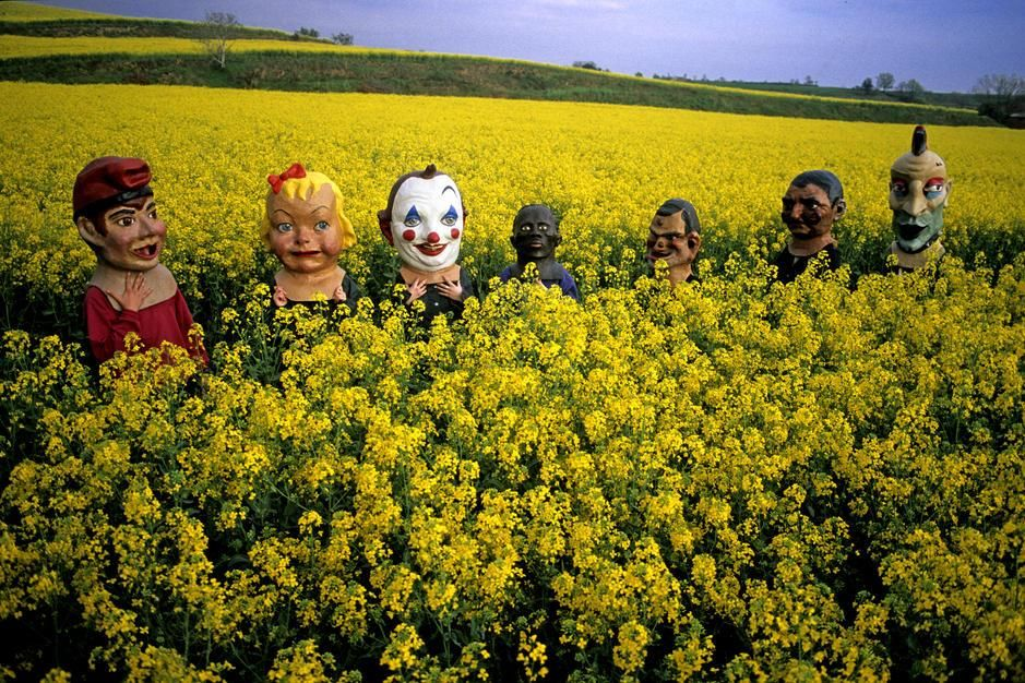 Masked young people in a mustard field en route to a summer festival. Masked young people in a... [Photo of the day - August 2011]