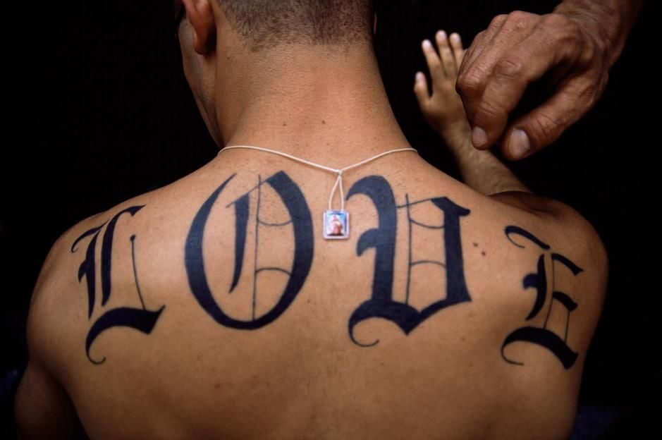 "The word ""LOVE"" tattoed on a man's back in New York City. Happy Valentine's Day. [Photo of the day - February 2011]"