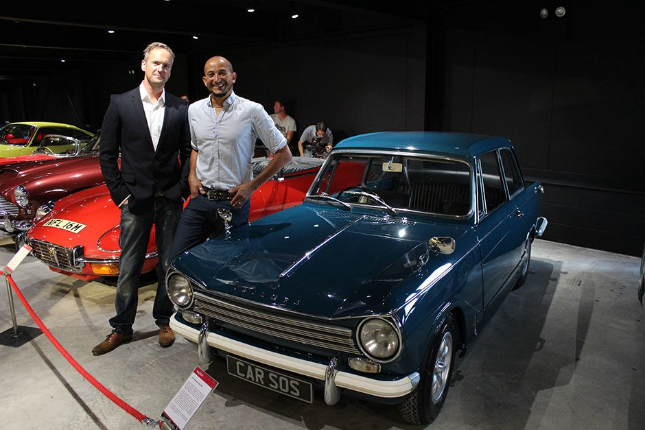 Fuzz Townshend and Tim Shaw pose with the finished Triumph Herald in situ on show at the Haynes... [Photo of the day - می 2014]