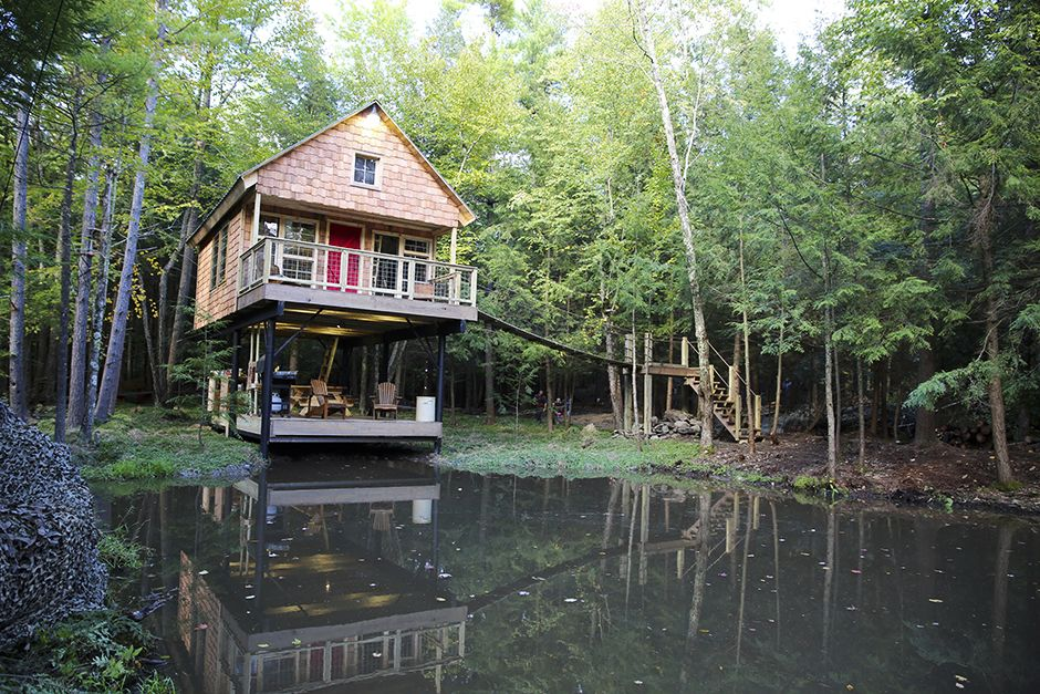 Buskirk, NY, USA: The completed cabin from across the pond. This image is from Building Wild. [Photo of the day - May 2014]