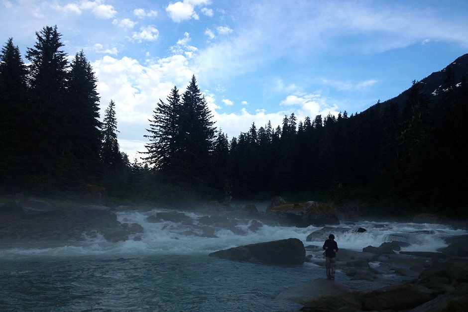 Juneau, Alaska, USA: Yote fishing in the river. This image is from Ultimate Survivor Alaska. [Photo of the day - July 2014]