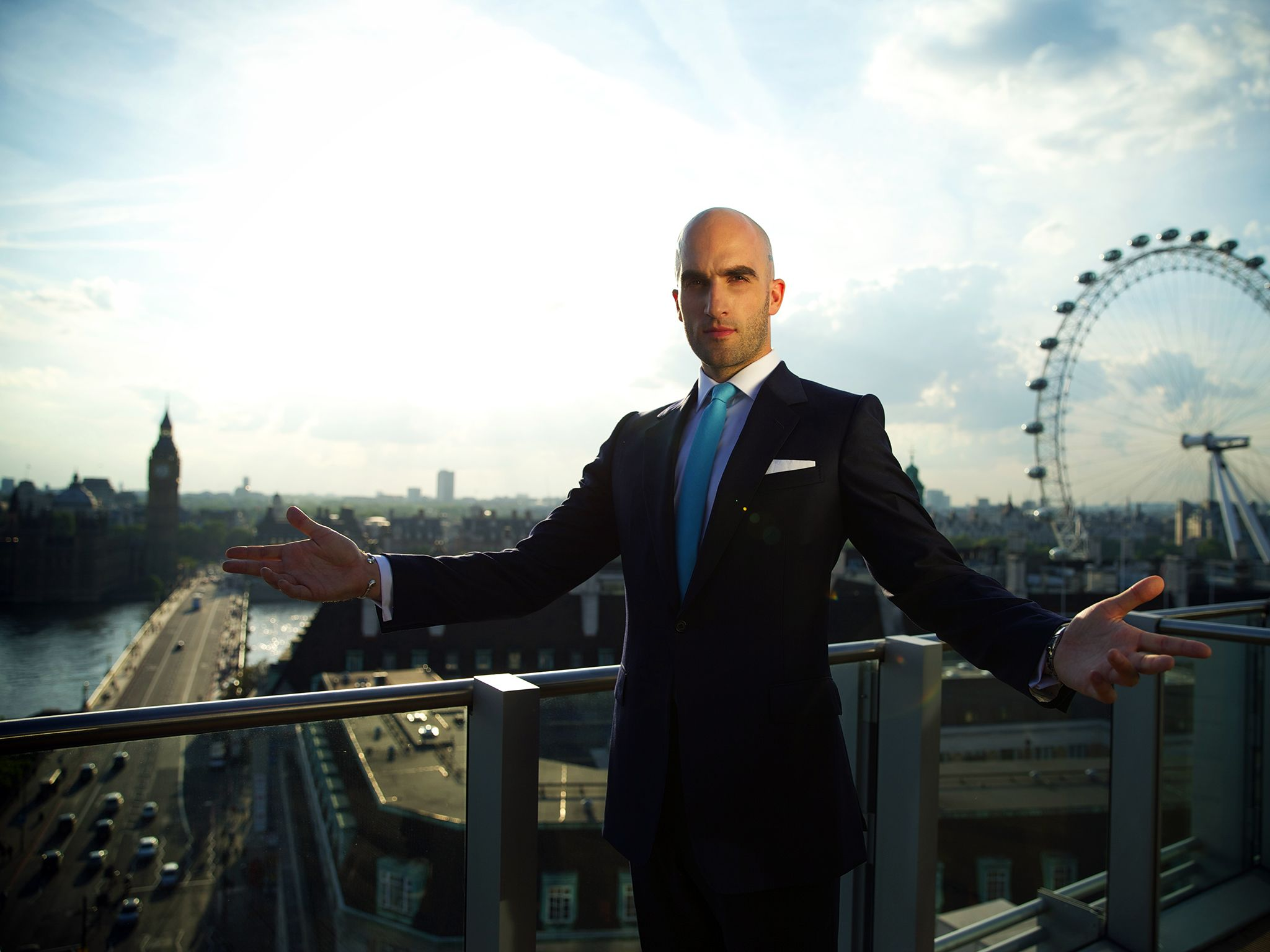 London, UK: Drummond Money-Coutts standing on a balcony at Park Plaza Westminster Bridge... [Photo of the day - November 2014]