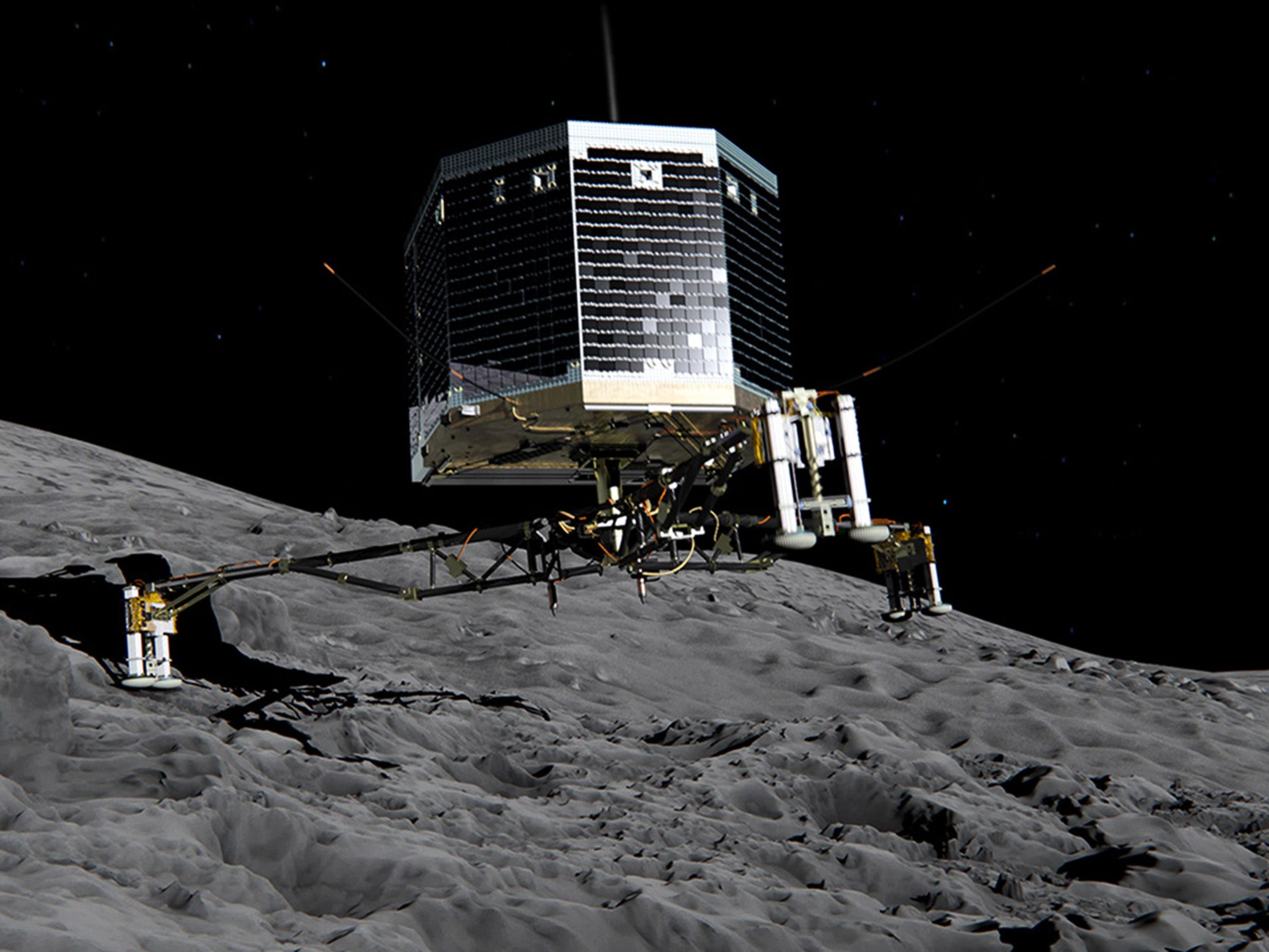 Still image from animation of Philae separating from Rosetta and descending to the surface... [Photo of the day - December 2014]