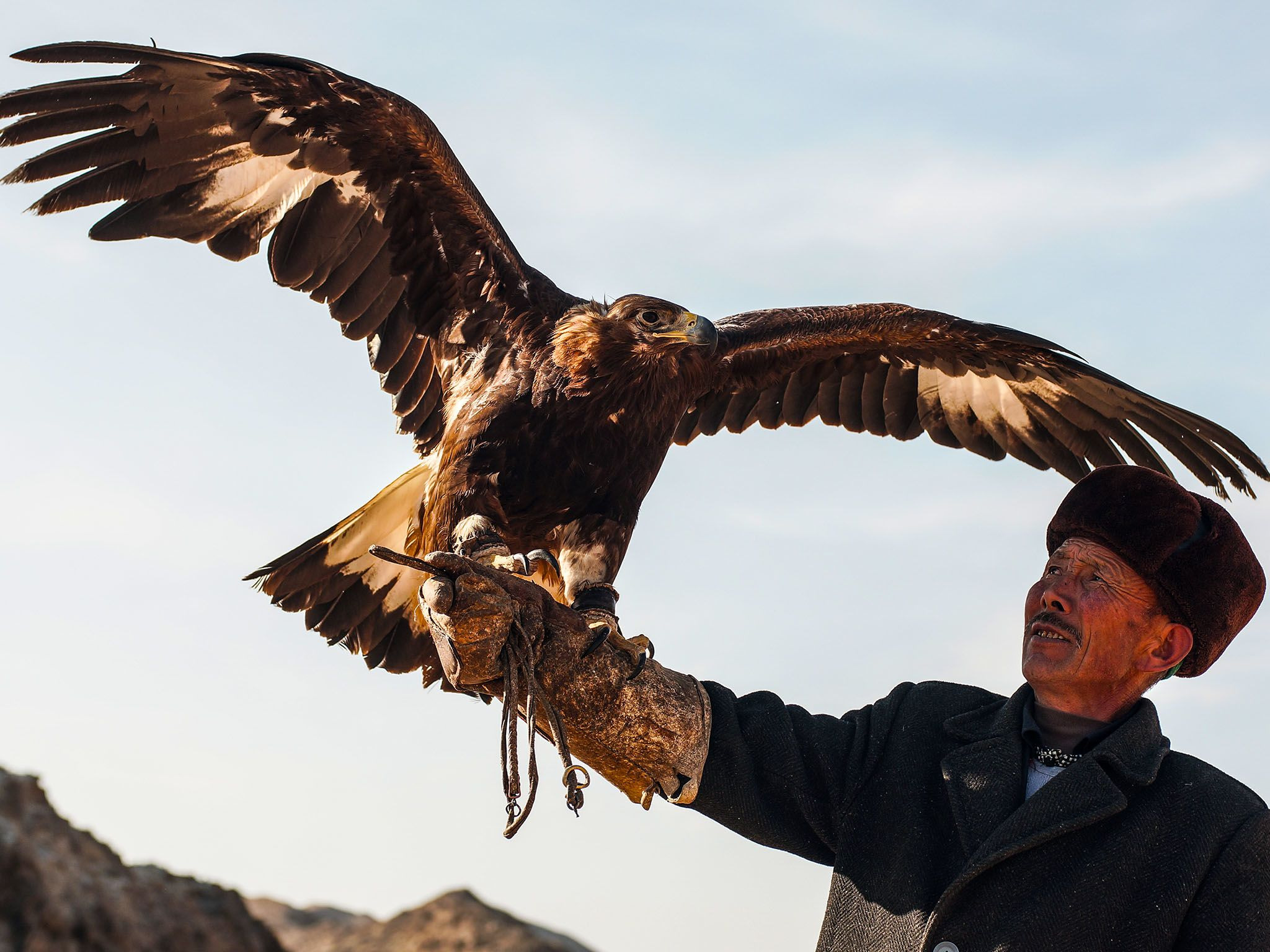 Macan and his eagle. Macan, a master falconer, teaches his son how to hunt with eagles amidst a... [Photo of the day - اگوست 2015]