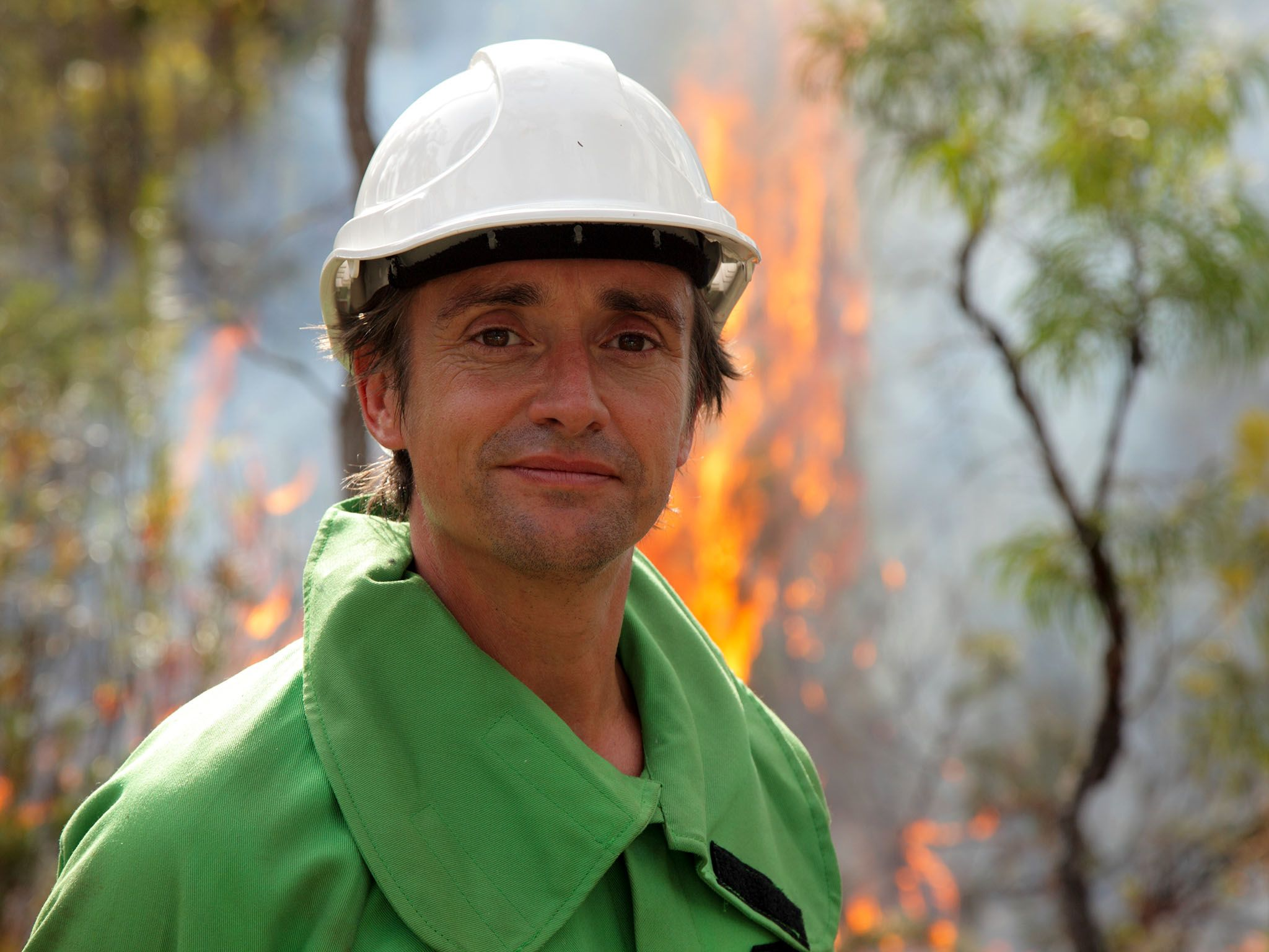 Bunbury, Western Australia - Richard Hammond in a prescribed burn in Jarra Forest. This image is... [Photo of the day - August 2015]