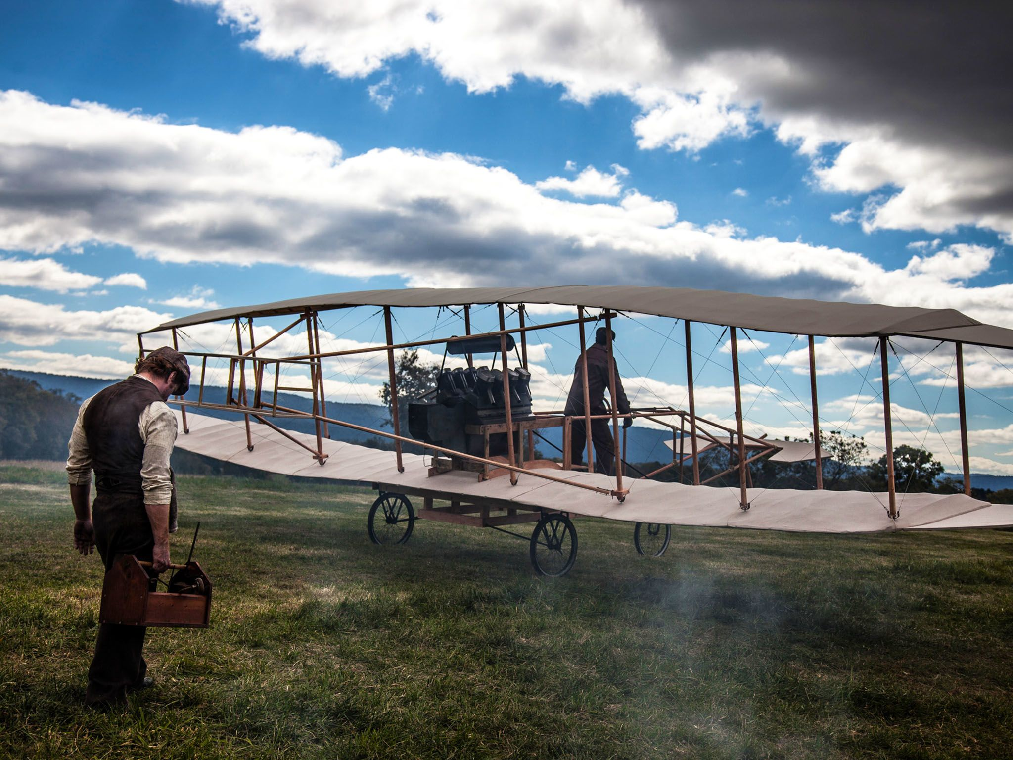 "Reenactment- Glenn Curtiss prepares to test fly his airplane, the ""June Bug"" for the first time,... [Photo of the day - August 2015]"