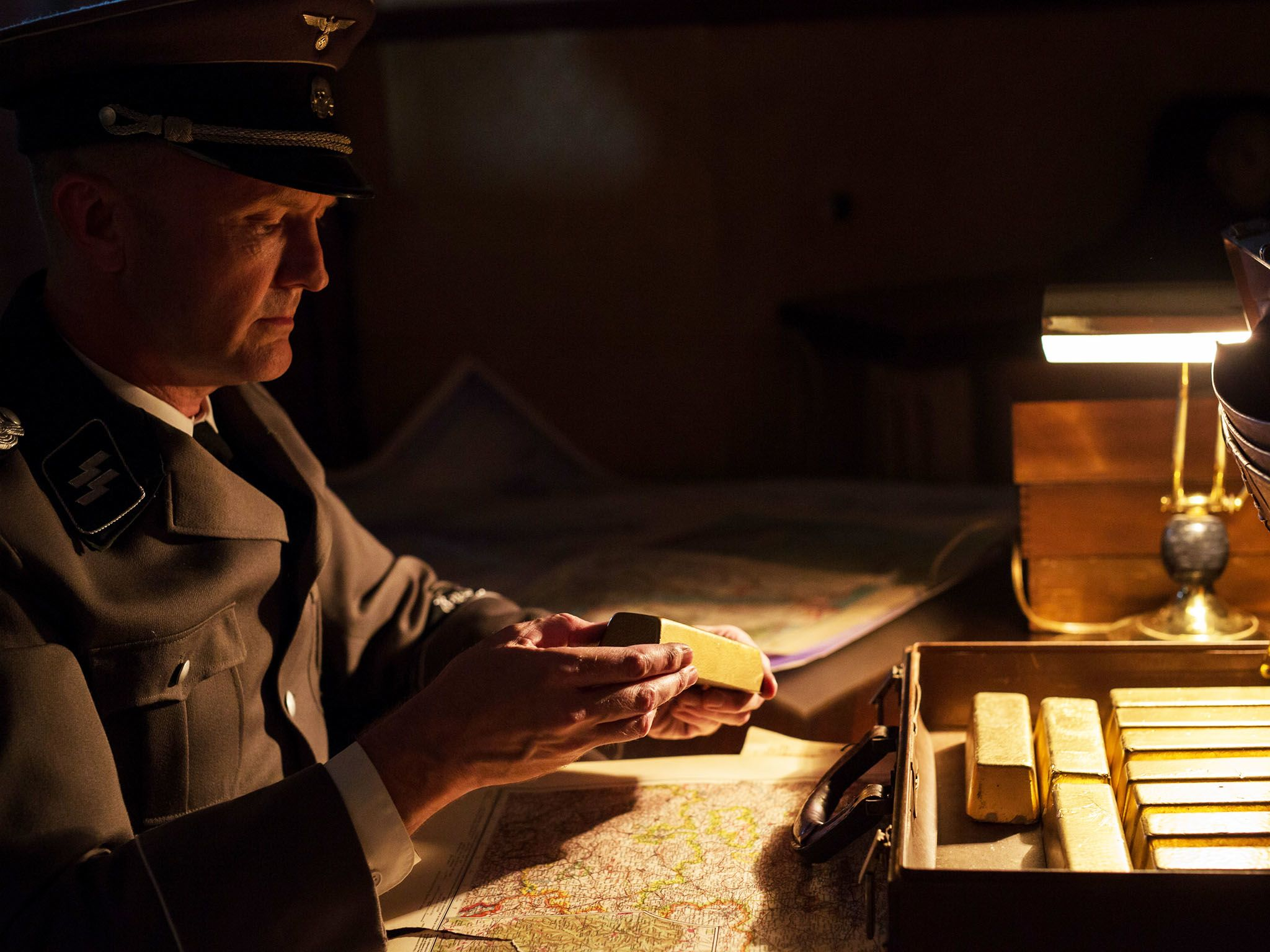Re-enactment: Eichmann (played by M.E. Lewis)looks at the gold bars given to him by the Munk... [Photo of the day - September 2015]