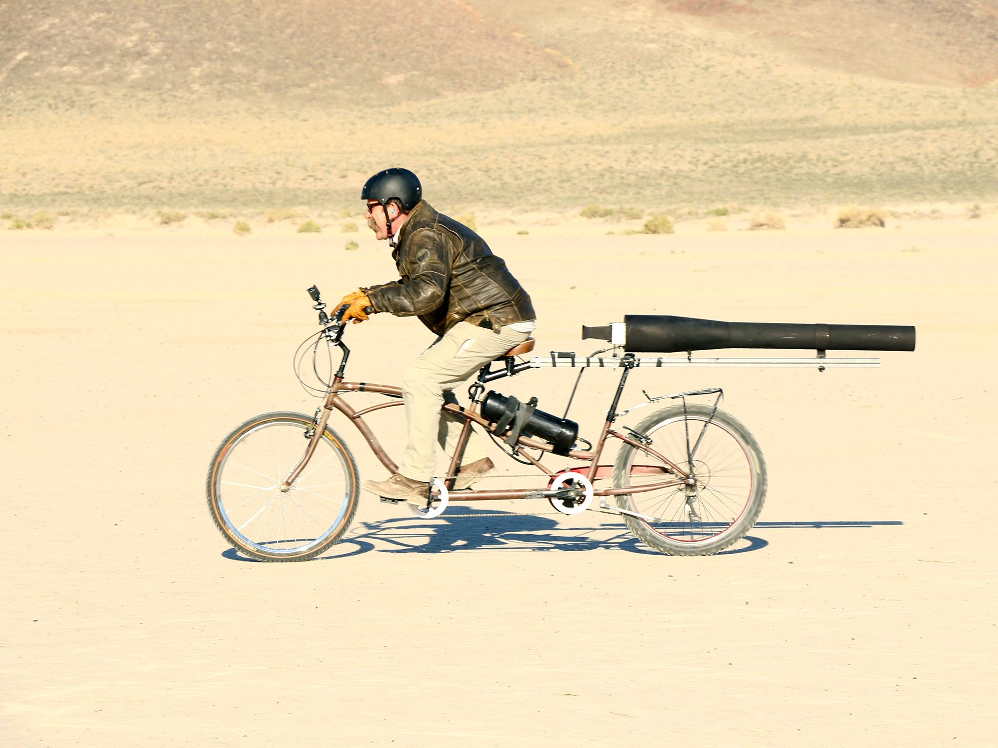 Fallon, Nev.:  Engineer, Dick Strawbridge tests his rocket powered bike. This image is from... [Photo of the day - December 2015]