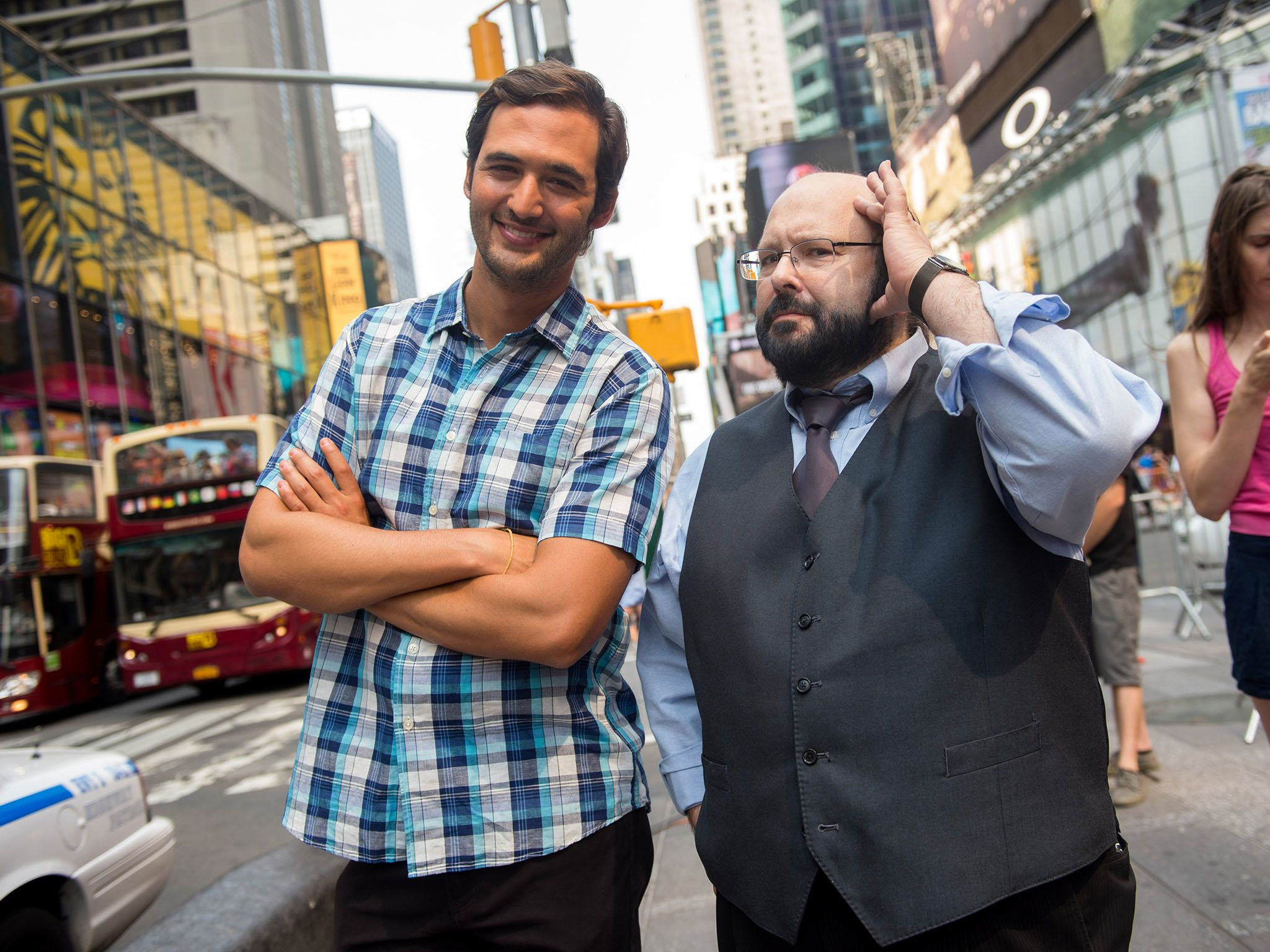 New York City, N.Y.: Jason Silva with Marc Salem in Times Square. This image is from Brain Games. [Photo of the day - فوریه 2016]