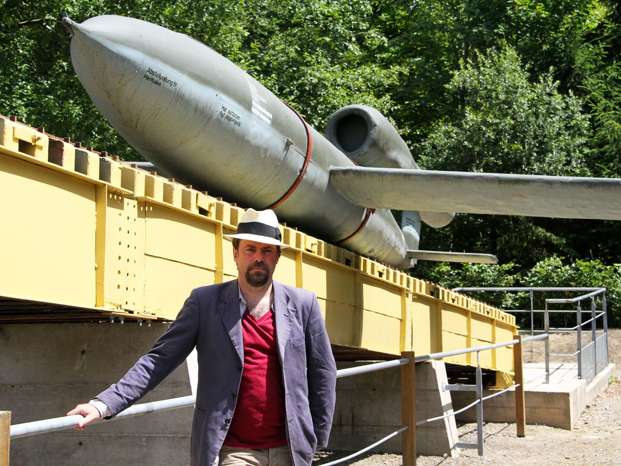 Battlefield archaeologist, Tony Pollard, in front of the first Vengeance weapon the V-1 flying... [Photo of the day - March 2016]
