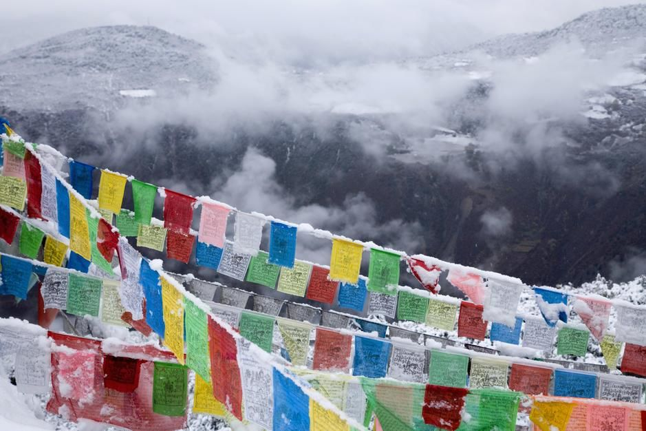 Buddhist prayer flags in fresh snow east of Degin. [Photo of the day - July 2011]