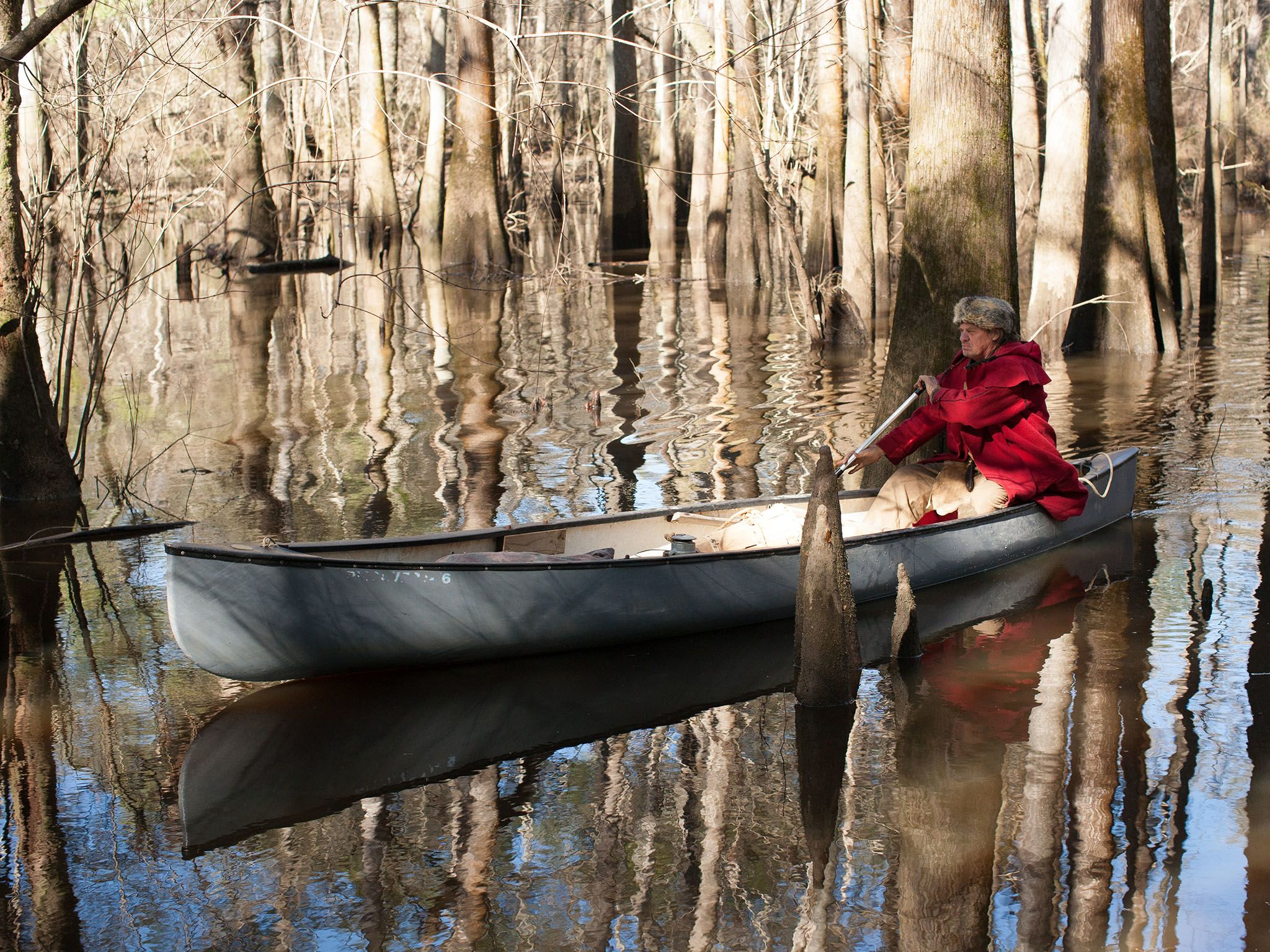Valdosta, GA.: Colbert rowing in his canoe. This image is from Live Free Or Die. [Photo of the day - October 2016]