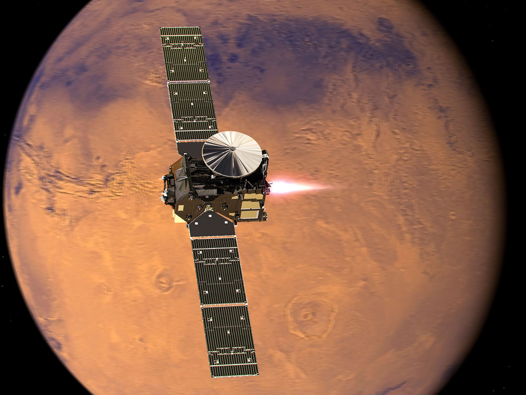 ExoMars/Trace Gas Orbiter (TGO) with its engine firing to start its entry into Mars orbit on 19... [Photo of the day - October 2016]