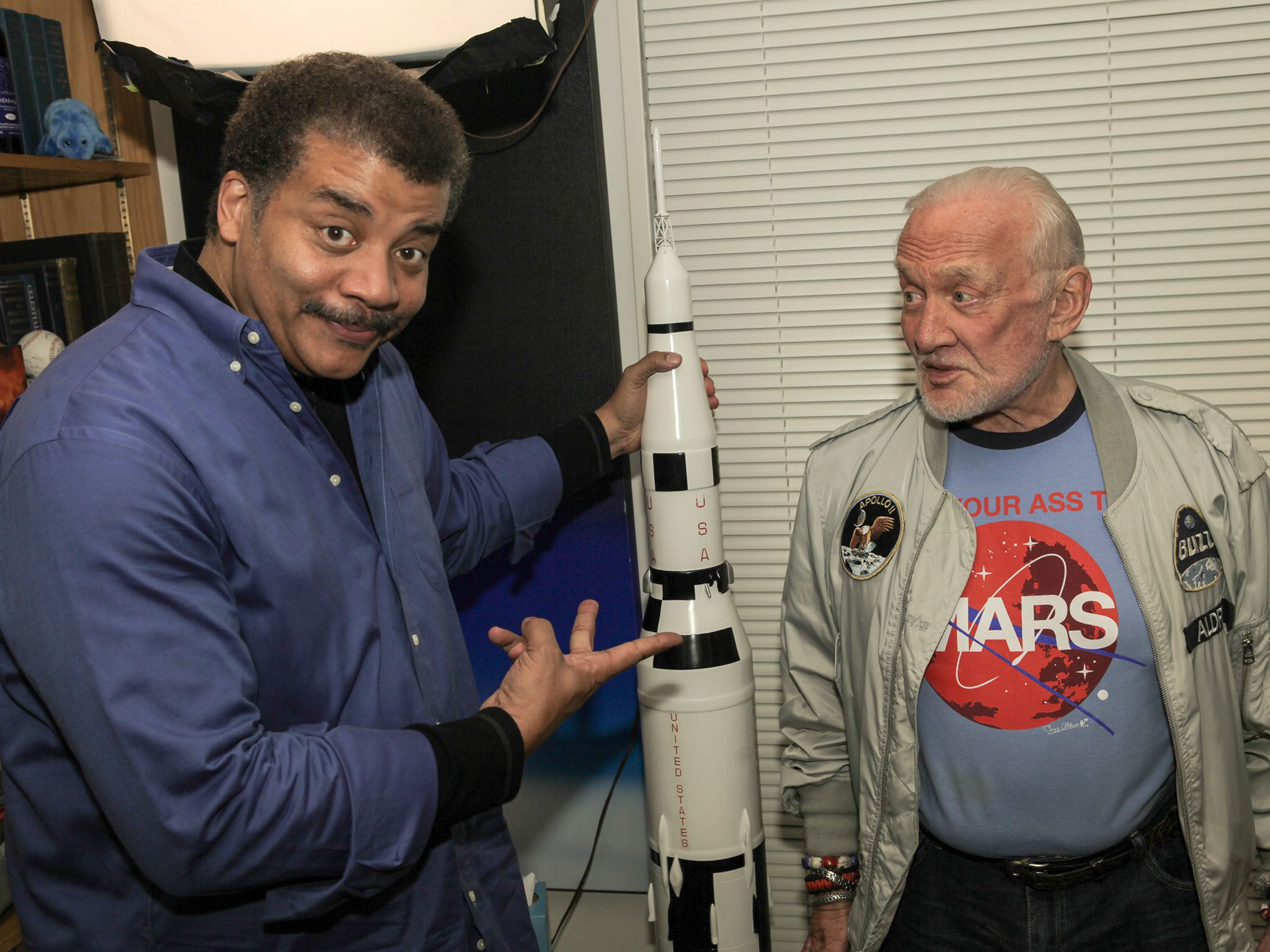 NEW YORK, N.Y.- Neil deGrasse Tyson and Buzz Aldrin in Neil's office at the American Museum of... [Photo of the day - December 2016]