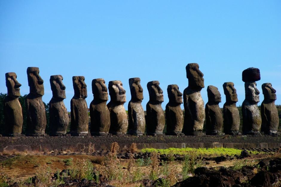 Giant moai statues on ahu platform on Easter Island. This image is from Beneath Easter Island .  [Photo of the day - February 2012]